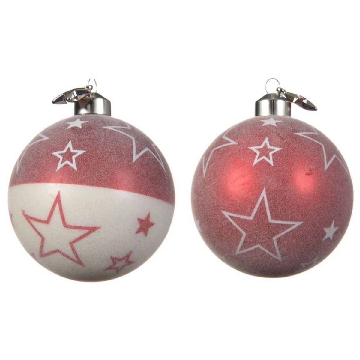 Lot de 2 boules de noël rouges et blanches décor étoiles D8cm