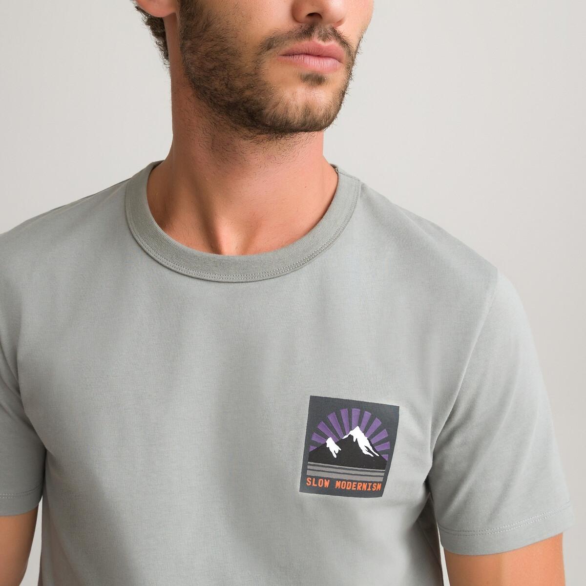 Футболка LaRedoute Из биохлопка с круглым вырезом и короткими рукавами 3XL серый футболка laredoute из биохлопка с короткими рукавами vegiflower m зеленый