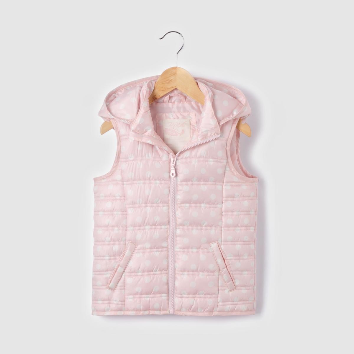 Куртка стеганая с рисунком в горошек, без рукавов, с капюшоном,  3-12 ansКуртка стеганая на ватине с рисунком в горошек. Без рукавов  . Застежка на молнию.  Съемный капюшон с планкой на молнии . 2 кармана. Состав и детали  : Материал 100% полиэстера Подкладка: 100% полиэстераМарка: LES PETITS PRIXУход :Машинная стирка при  30° с вещами подобных цветов.Машинная сушка на умеренном режиме.Гладить на низкой температуре.<br><br>Цвет: набивной рисунок