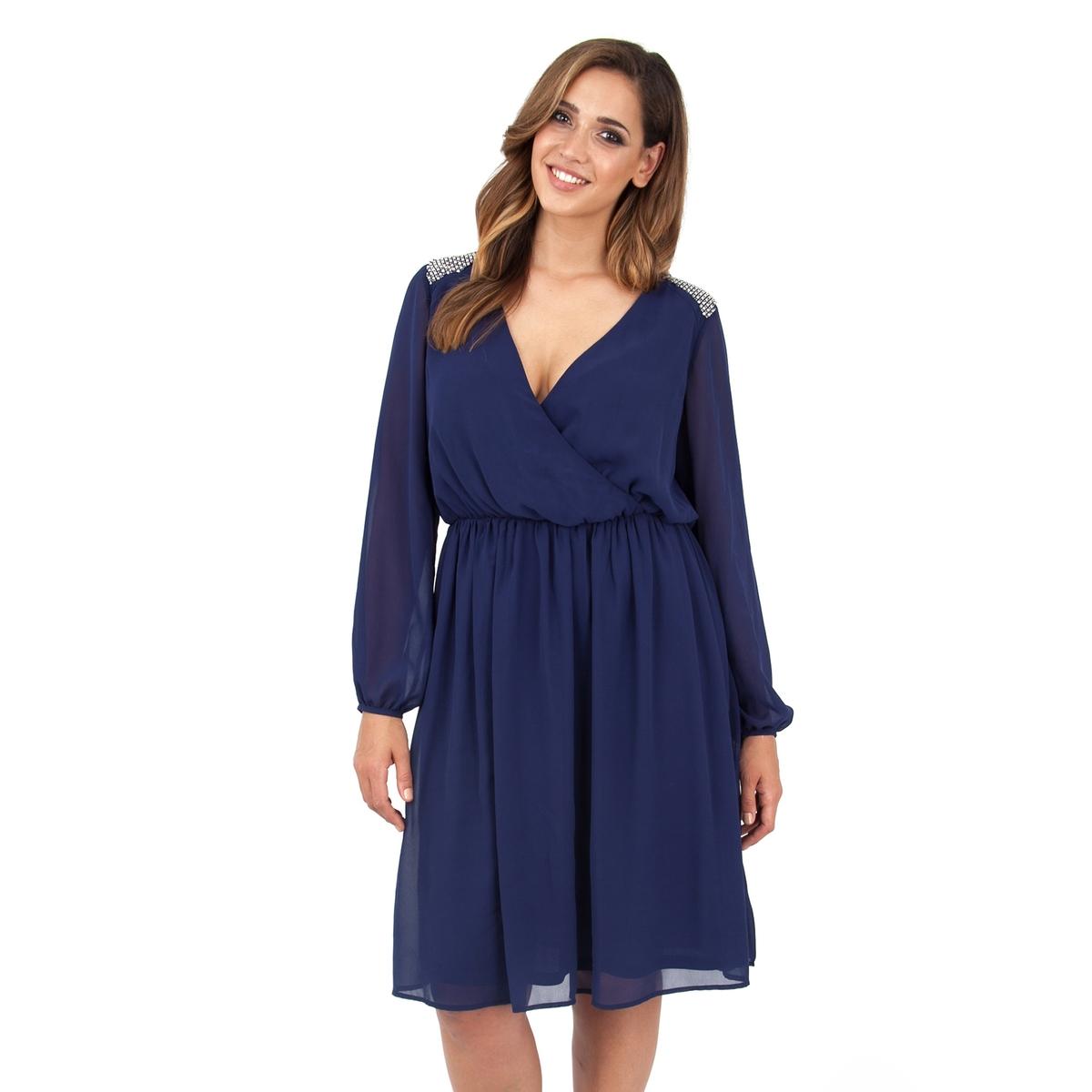 ПлатьеПлатье с длинными рукавами - LOVEDROBE. Область плеча расшита бисером. Красивый вырез декольте. Длина ок.104 см. 100% полиэстера.<br><br>Цвет: синий морской<br>Размер: 50/52 (FR) - 56/58 (RUS).54/56 (FR) - 60/62 (RUS)