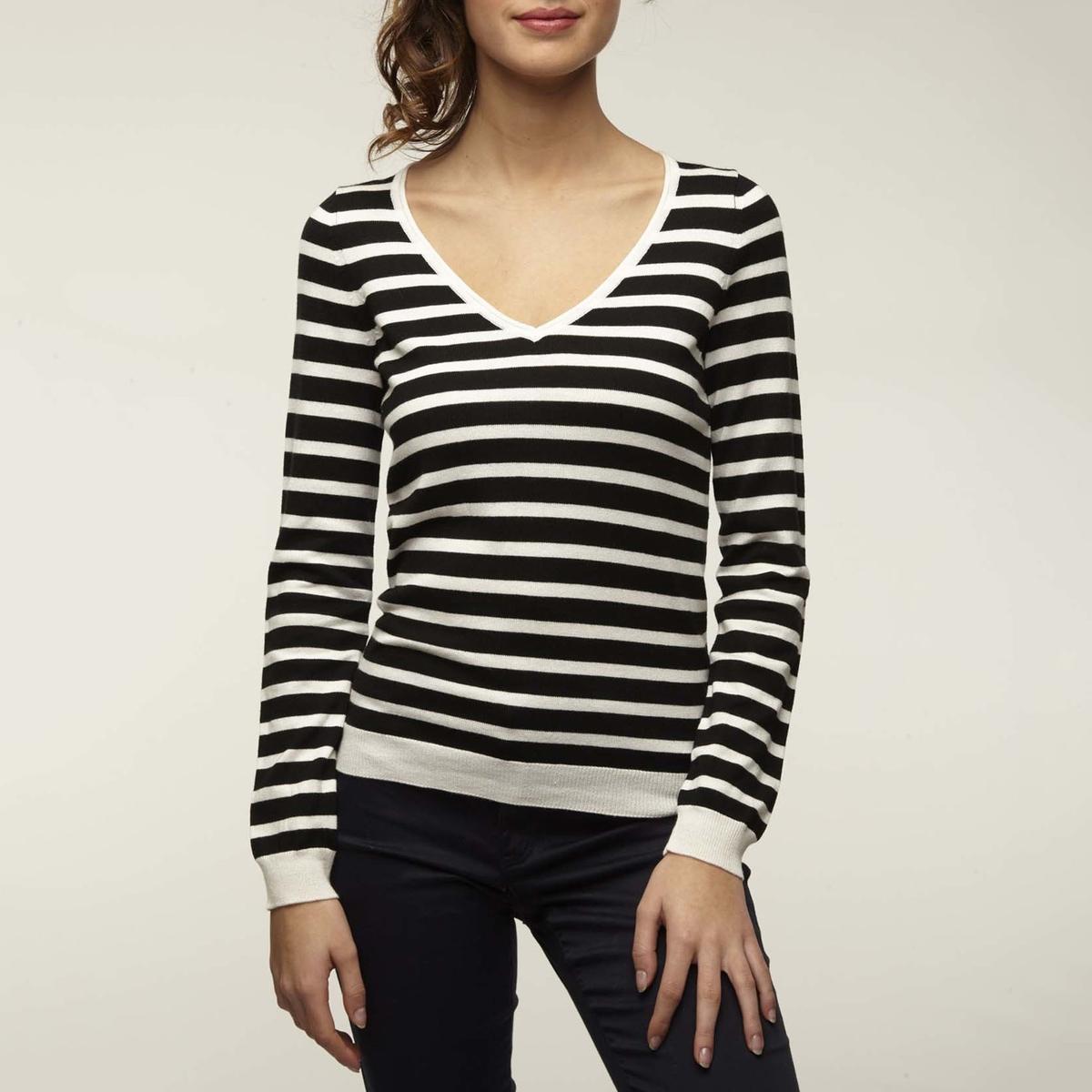 Пуловер с V-образным вырезом из тонкого трикотажа MARIBEST NAF NAF