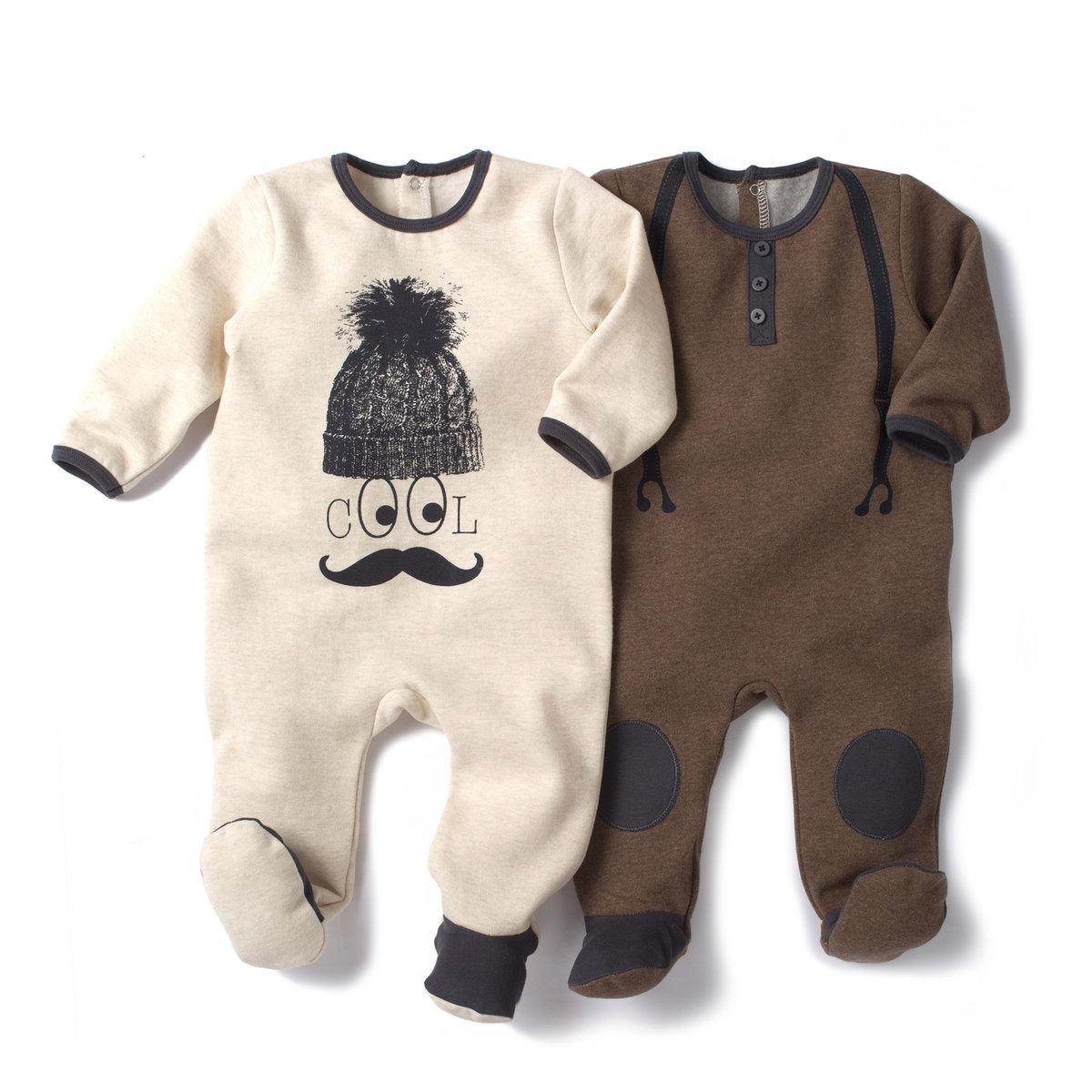 2 пижамы из мольтона со вшитыми носочками 0 мес-3 лет