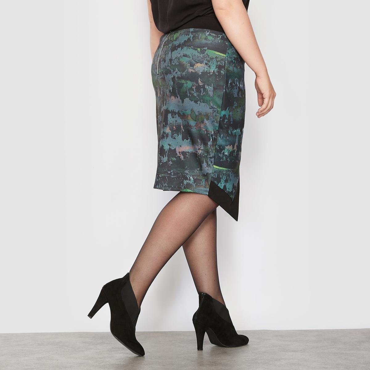 Юбка асимметричная из трикотажа с рисункомАсимметричная юбка из трикотажа с рисунком.Оригинальный рисунок, комфортный плотный трикотаж.Асимметричный покрой, эффект с запахом спереди.Широкий эластичный пояс на талии.Застежка на молнию посередине сзади.Состав и описание :Материал : плотный трикотаж с рисунком 95% полиэстера, 5% эластана.Длина посередине сзади 54 см для 42 размера.Марка : CASTALUNAУход : Машинная стирка при 30 °С в деликатном режиме.<br><br>Цвет: рисунок пятна<br>Размер: 58 (FR) - 64 (RUS).56 (FR) - 62 (RUS).54 (FR) - 60 (RUS).50 (FR) - 56 (RUS)