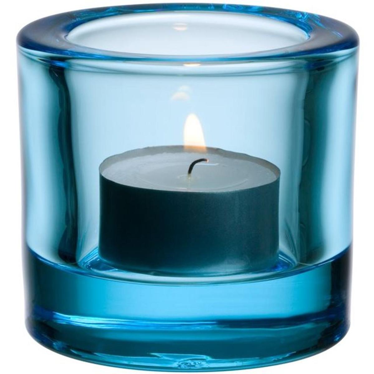 Support à bougie chauffe-plat iittala Kivi- Bleu clair