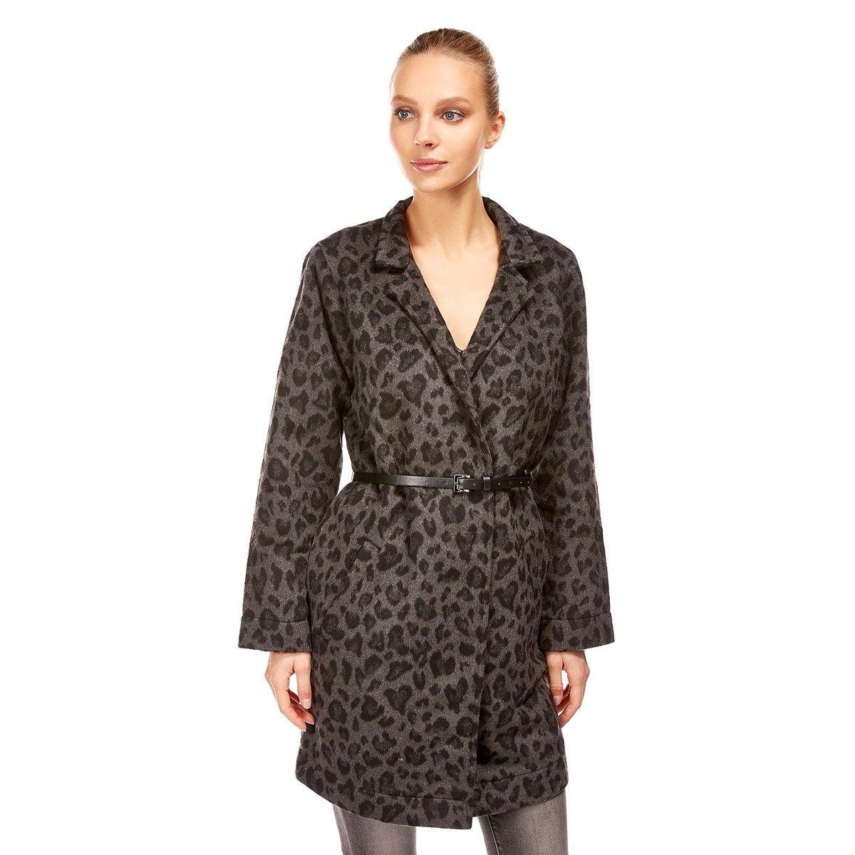 Manteau Imprimé Léopard col plat avec ceinture