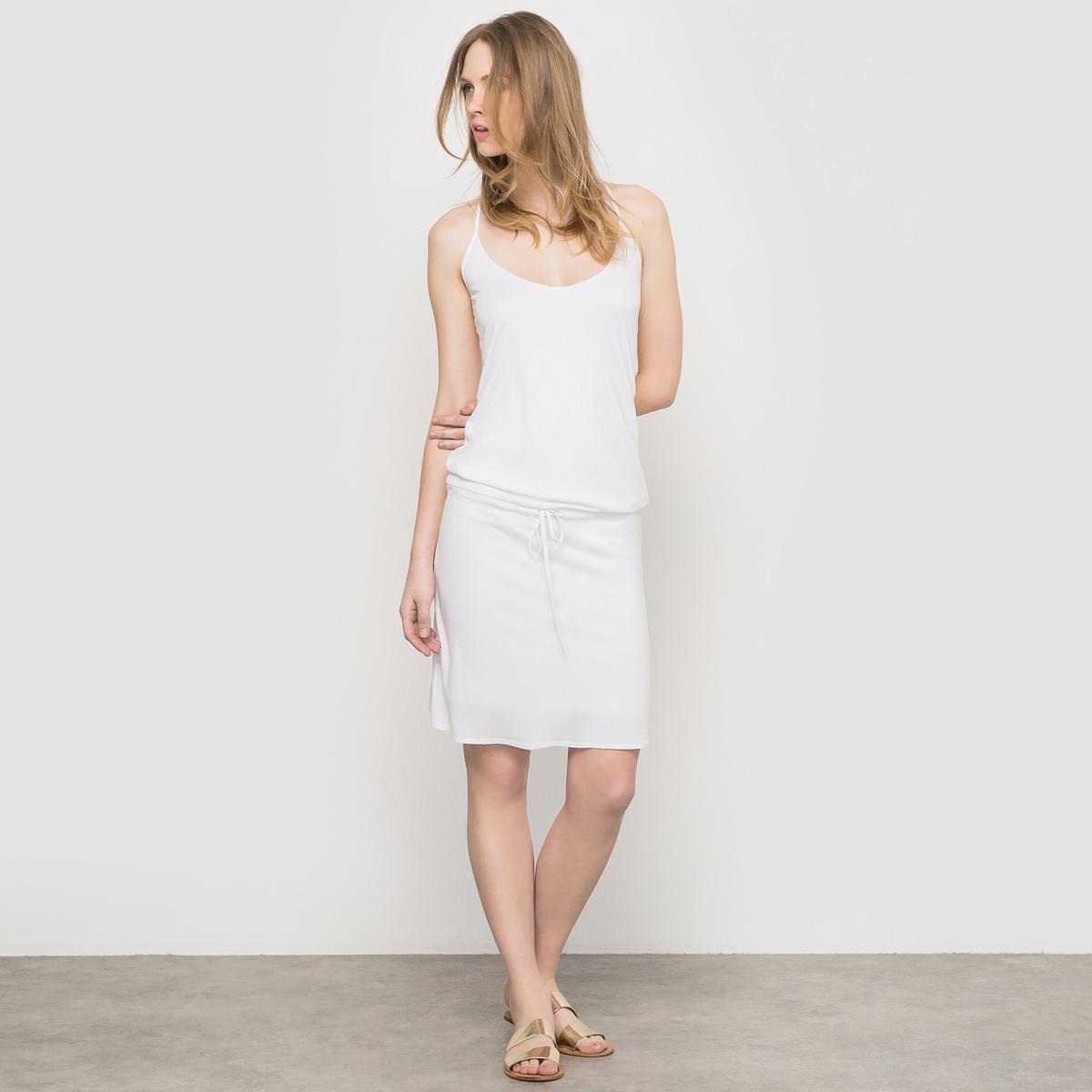 Платье из струящейся ткани - RessentielСостав и описание:Материал: 100% вискозы.Марка: Ressentiel<br><br>Цвет: белый<br>Размер: 50/52 (FR) - 56/58 (RUS)