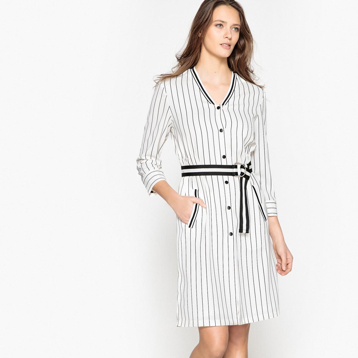 Платье в полоску в стиле бейсбол с застежкой на пуговицы от La Redoute