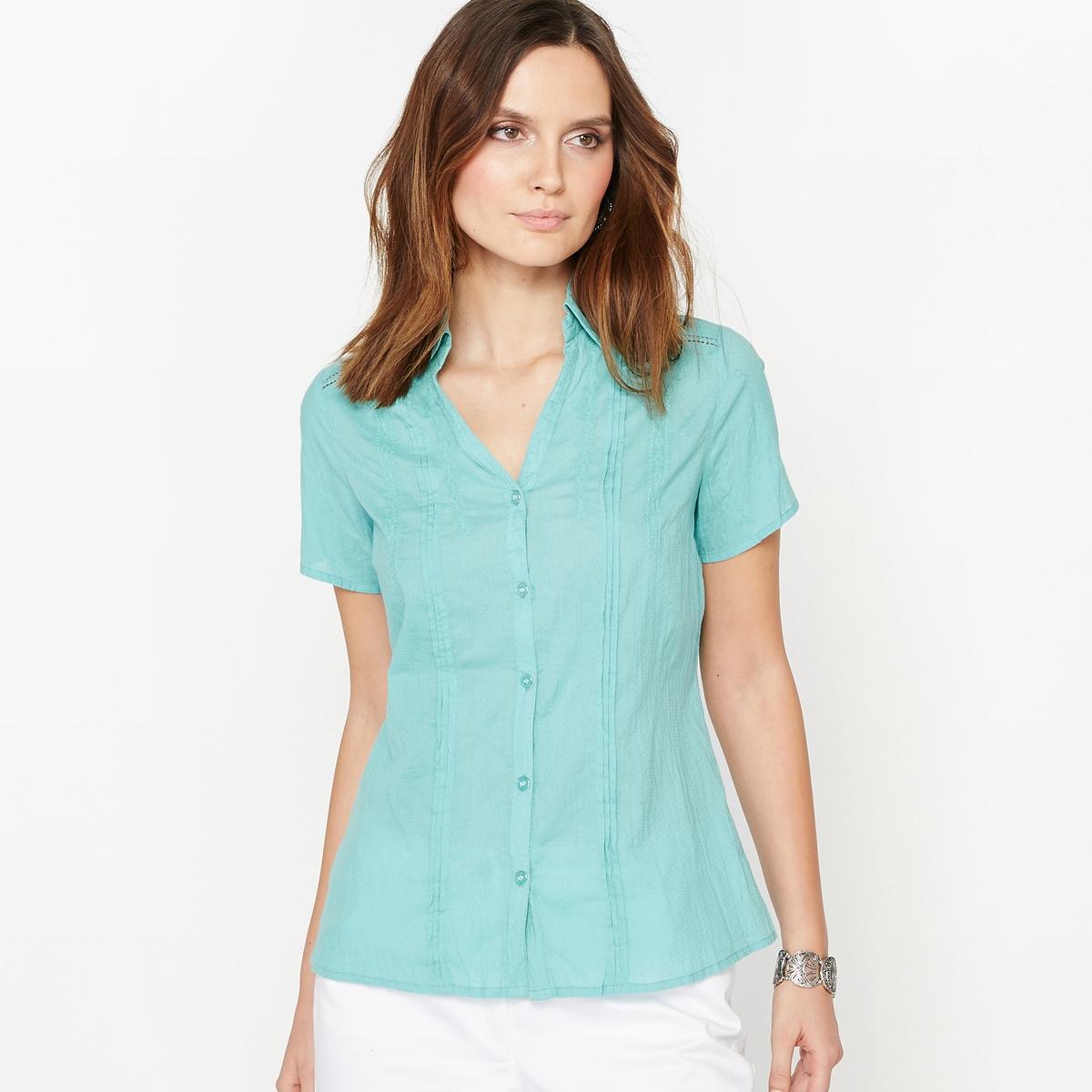 Купить со скидкой Блузка с горизонтальными складками и фантазийной вышивкой, 100% хлопка