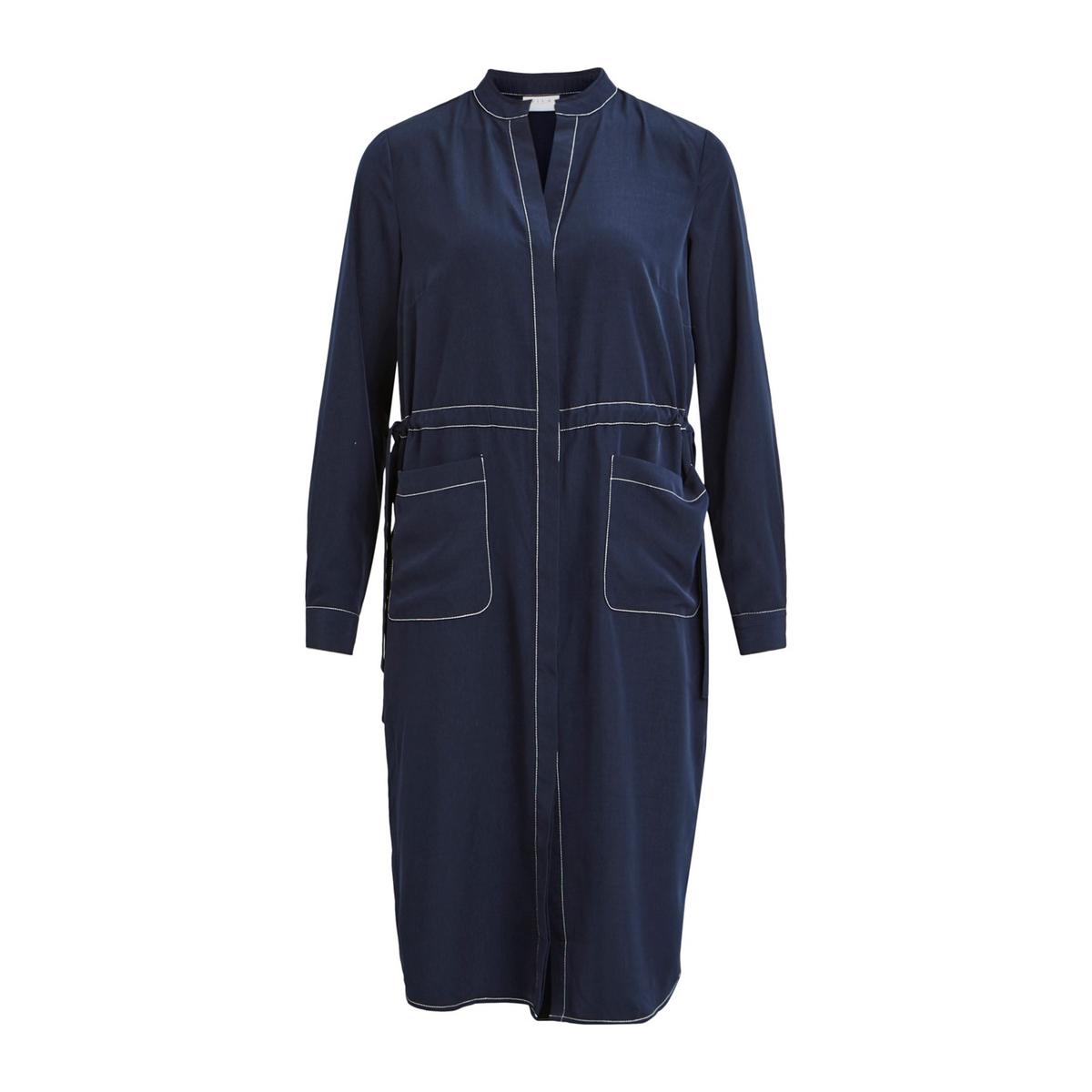 Платье-рубашка La Redoute Струящееся с длинными рукавами 34 (FR) - 40 (RUS) синий платье la redoute прямое струящееся cienna 2 m синий