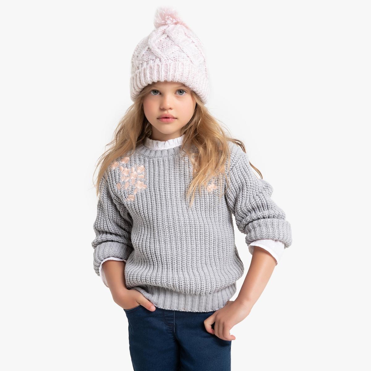 Пуловер La Redoute С круглым вырезом и вышивкой из плотного трикотажа 3 года - 94 см серый футболка la redoute с круглым вырезом и принтом спереди 3 года 94 см серый