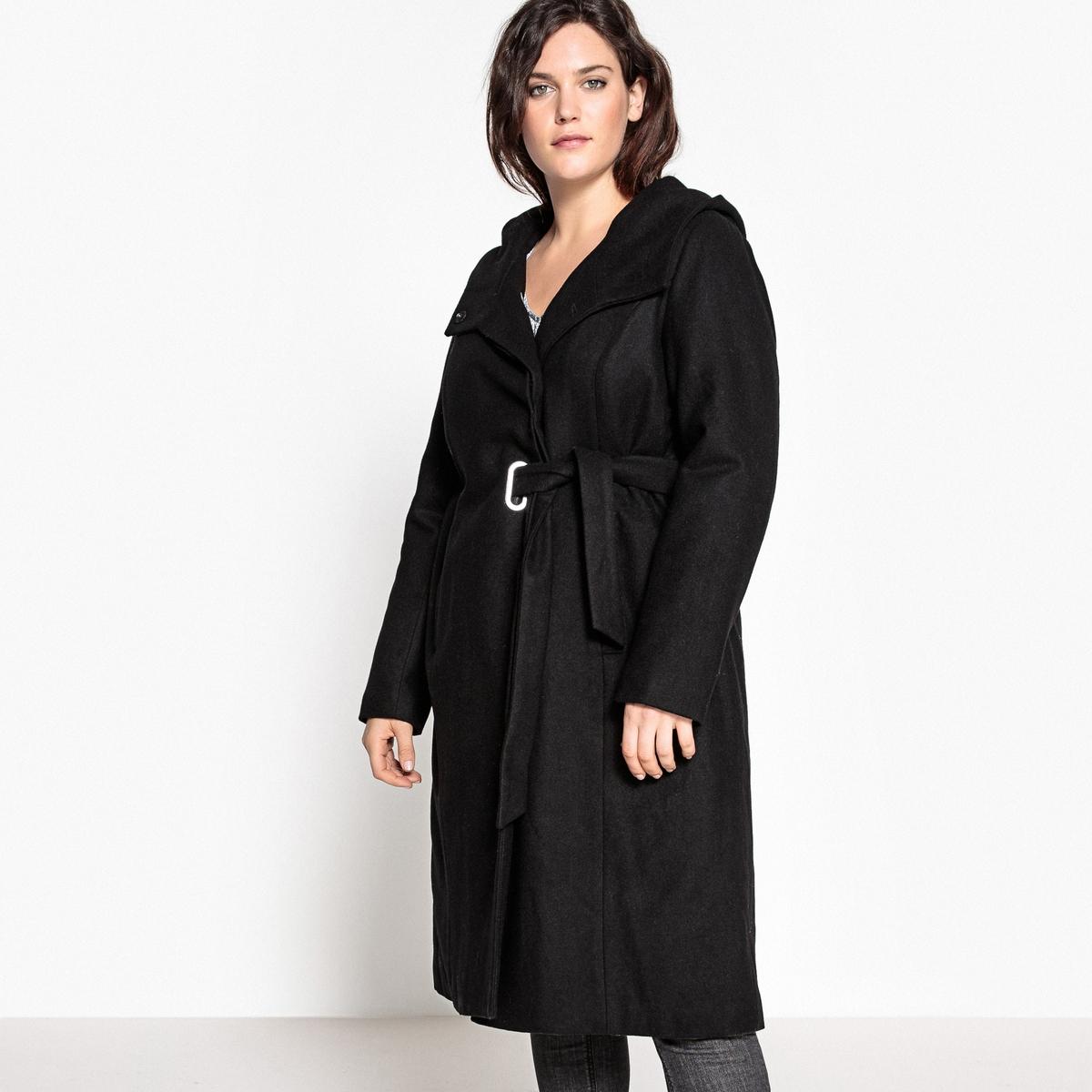 Пальто с капюшоном и ремешком пальто с капюшоном из шерстяного драпа