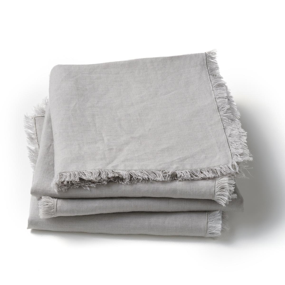 4 столовых LaRedoute Салфетки из стиранного льна Yastigi комплект из 4 серый