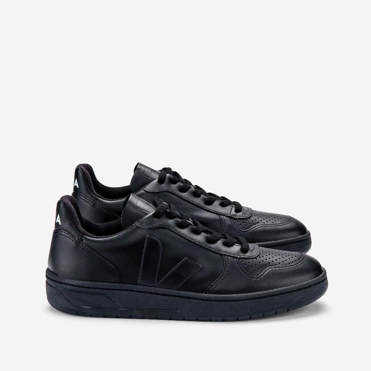 кеды низкие на шнуровке из спилка Кеды LaRedoute Кожаные на шнуровке V 10 43 черный