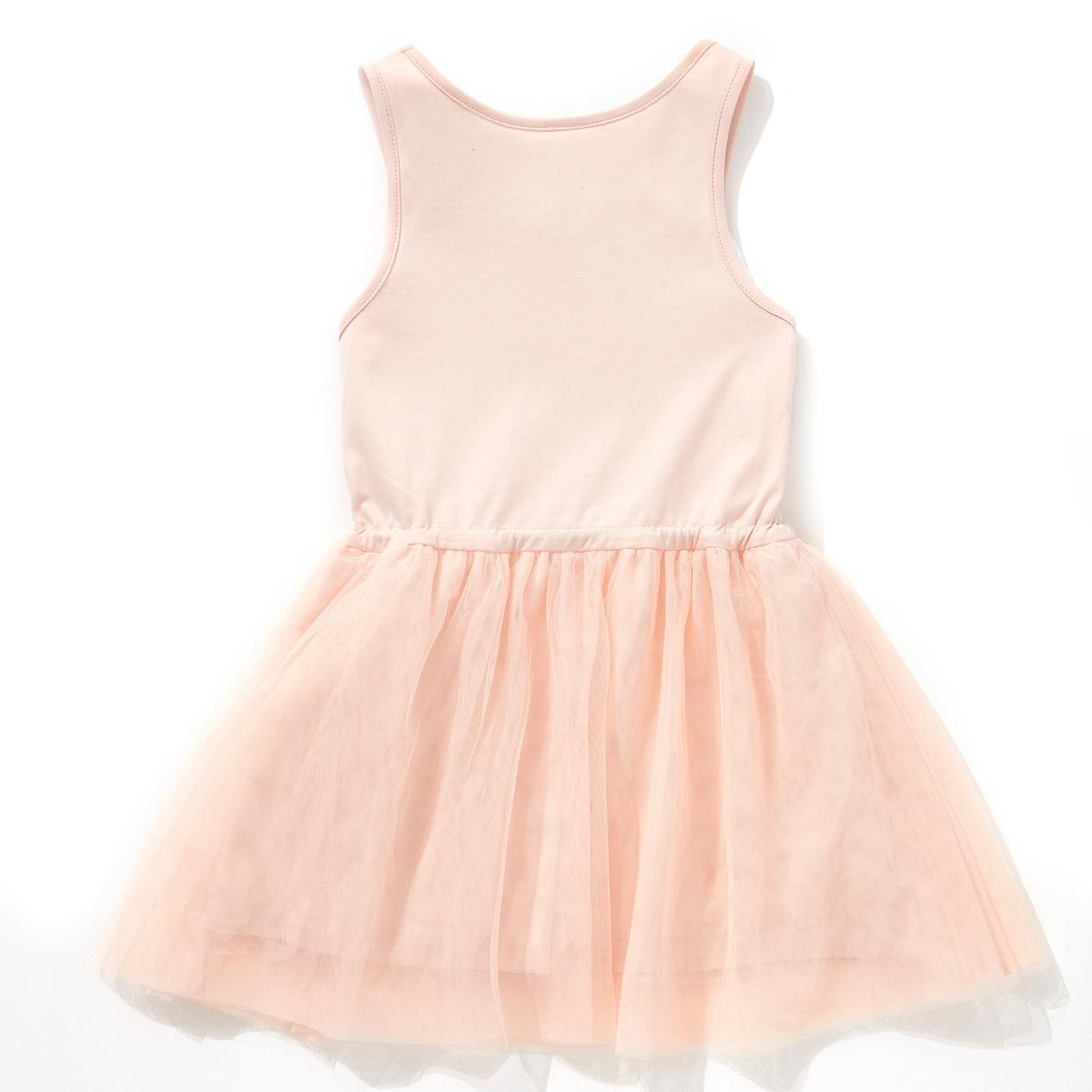 Платье LA REDOUTE CREATIONВерх из джерси, 100% хлопка. Низ с воланами из тюля, 100% полиэстера.<br><br>Цвет: розовый