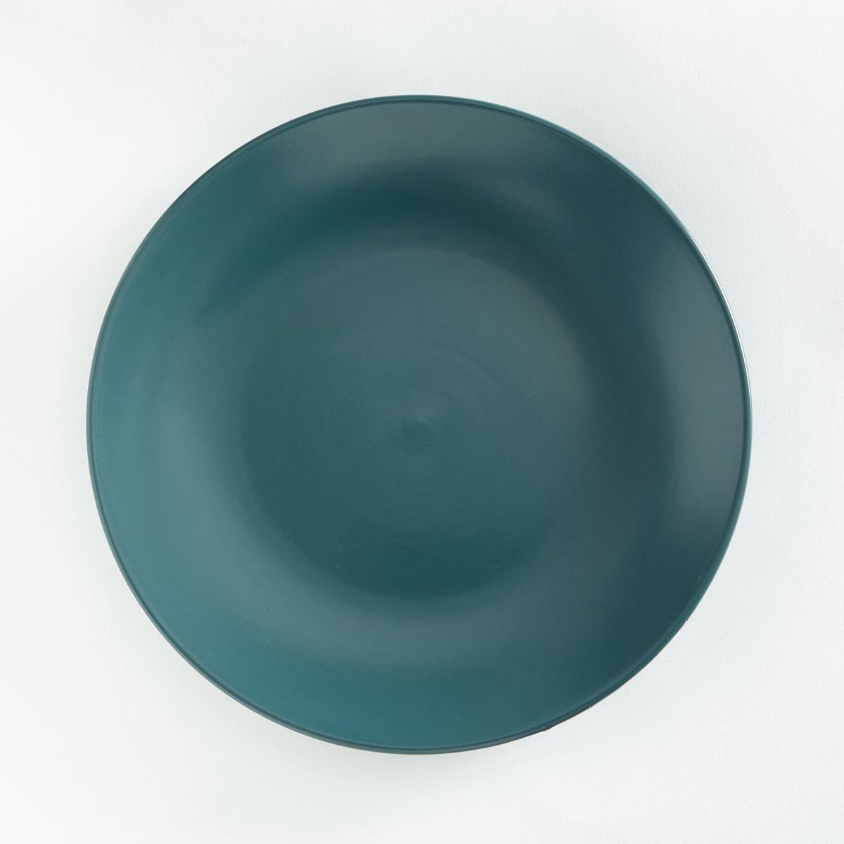 Комплект из плоских тарелок La Redoute Из фаянса с матовой отделкой MELYA единый размер синий
