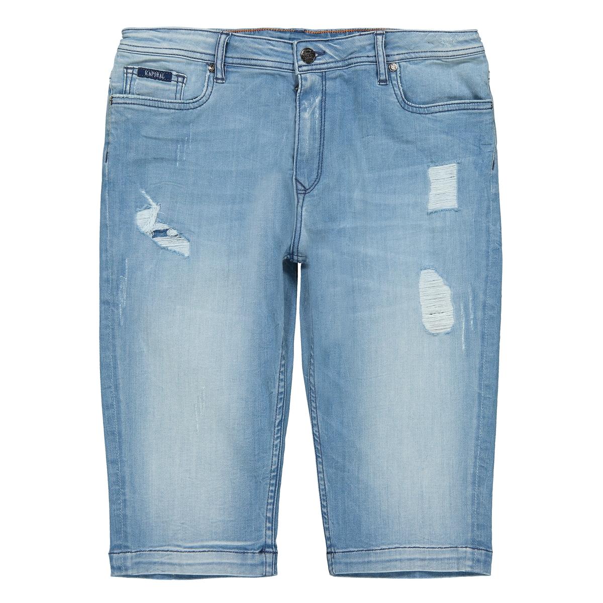 Бермуды La Redoute Из джинсовой ткани с потертым эффектом 10 синий наволочка la redoute из хлопка с потертым эффектом timun 45 x 45 см синий