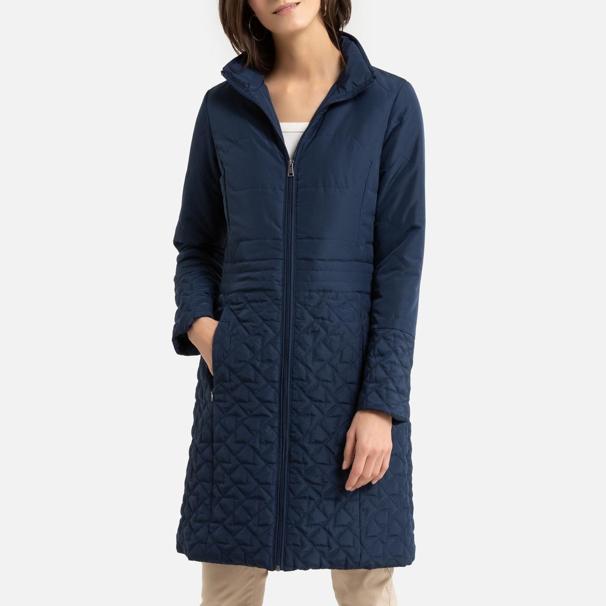 цена Куртка La Redoute Стеганая длинная 42 (FR) - 48 (RUS) синий онлайн в 2017 году