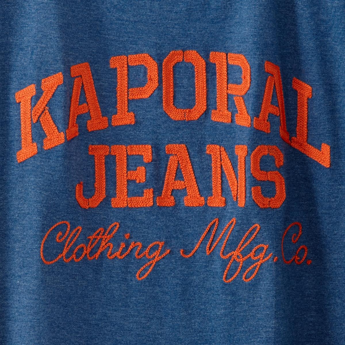 Футболка TrishФутболка модель TRISH от марки Kaporal® с принтом спередиKaporal Jeans.      Короткие рукава   Прямой покрой   Круглый вырез   Логотип марки снизу Состав и описание:Основной материал: 60% хлопка, 40% полиэстераМарка: Kaporal® Уход: Следуйте рекомендациям, указанным на этикетке.<br><br>Цвет: коралловый,синий<br>Размер: S.M.XXL.XL.XL.L.S