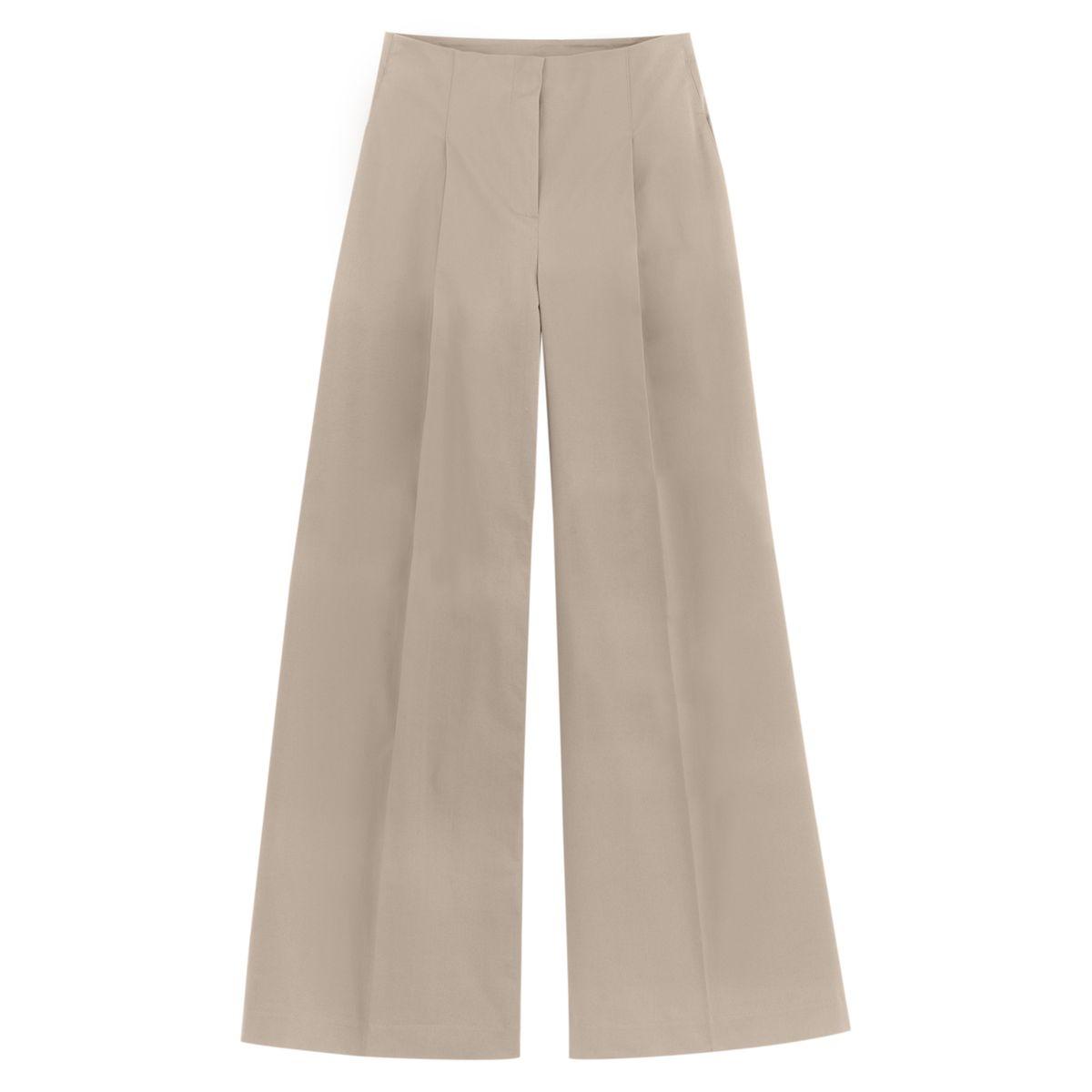 Pantalon large, taille haute, plis lâchés