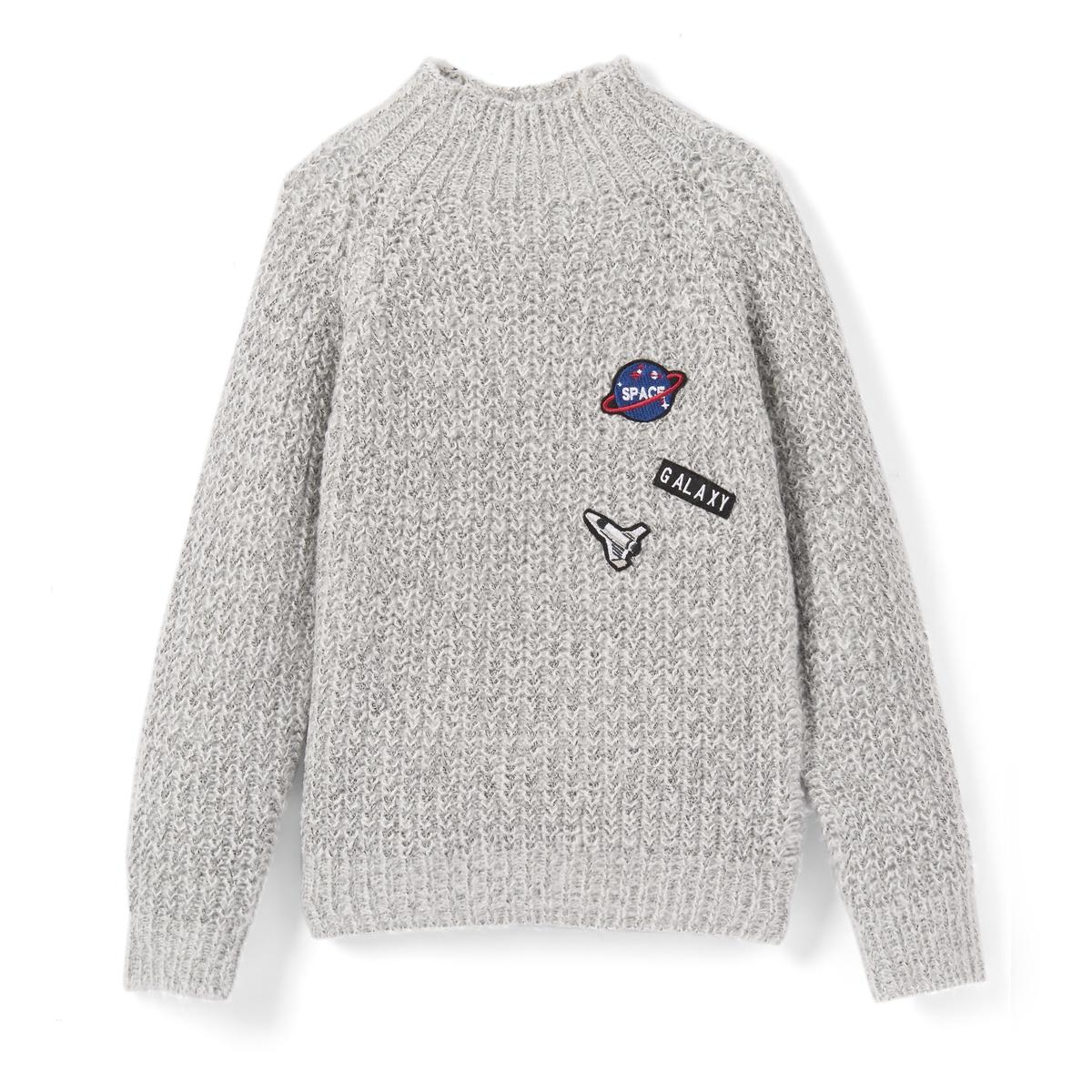 Пуловер с нашивками, 3-12 лет