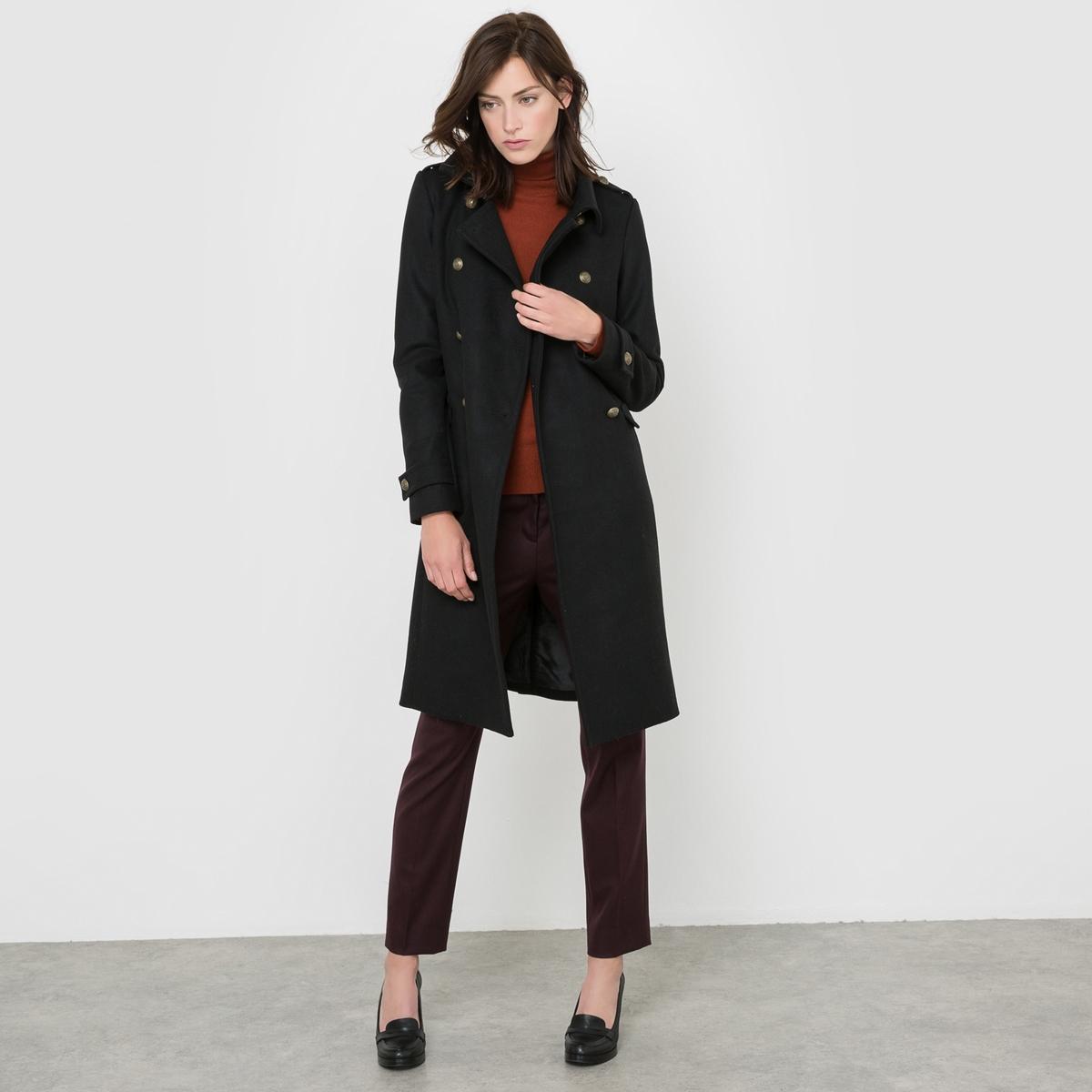 Пальто в стиле милитари, 55% шерсти мужское пальто в стиле милитари
