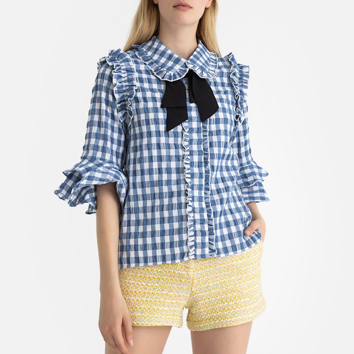 Chemise à lavallière à carreaux et volants
