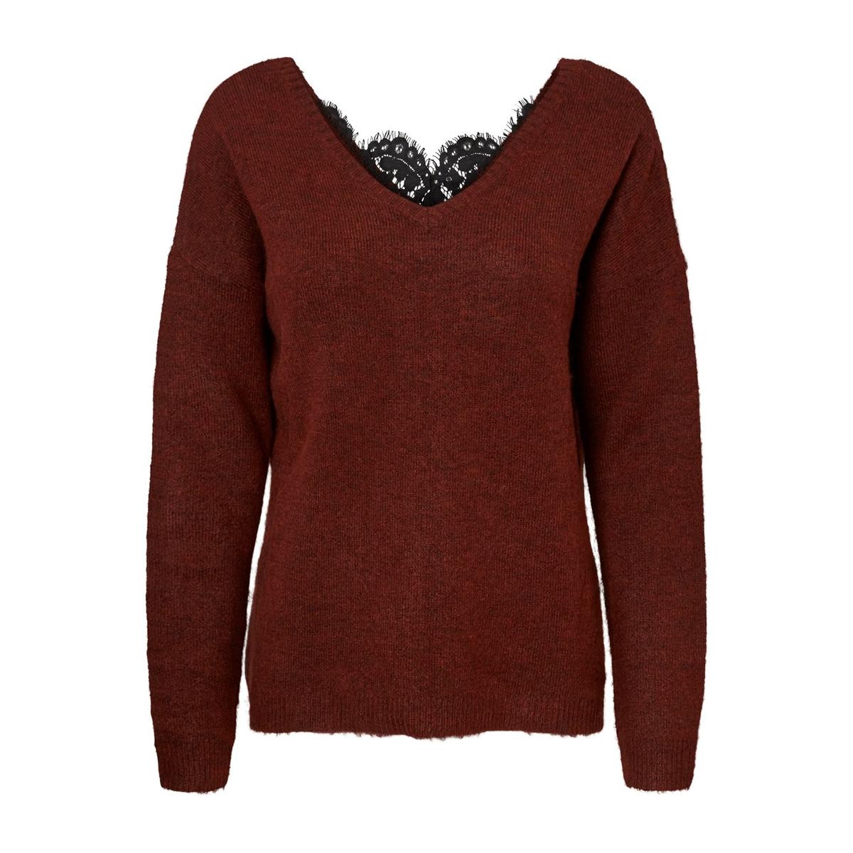Пуловер La Redoute С V-образным вырезом с отделкой кружевом M каштановый