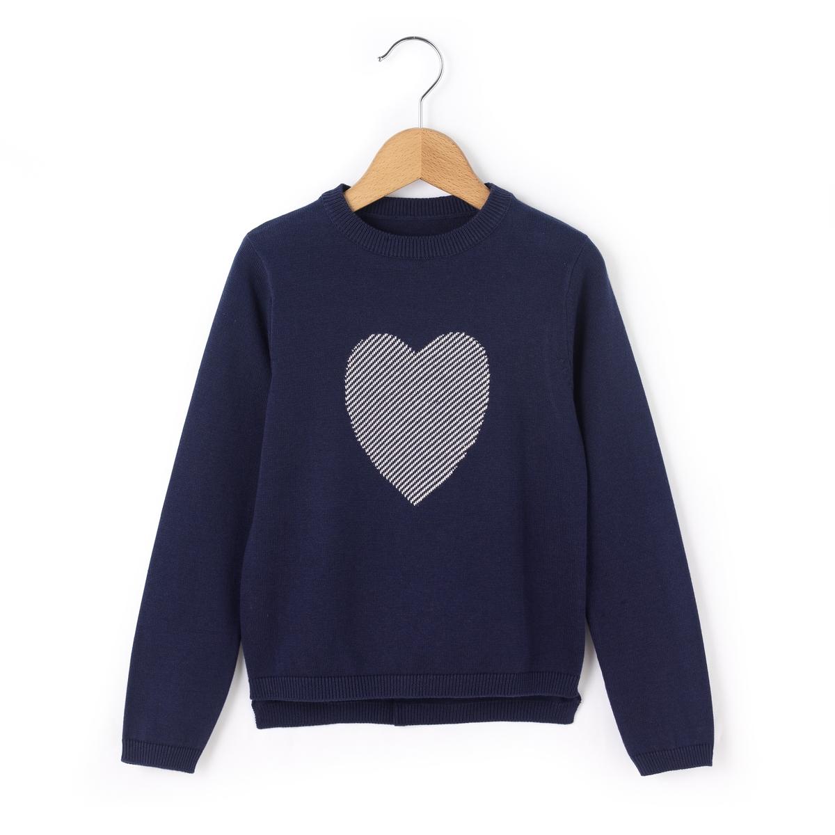 Пуловер с рисунком сердце 3-12 лет