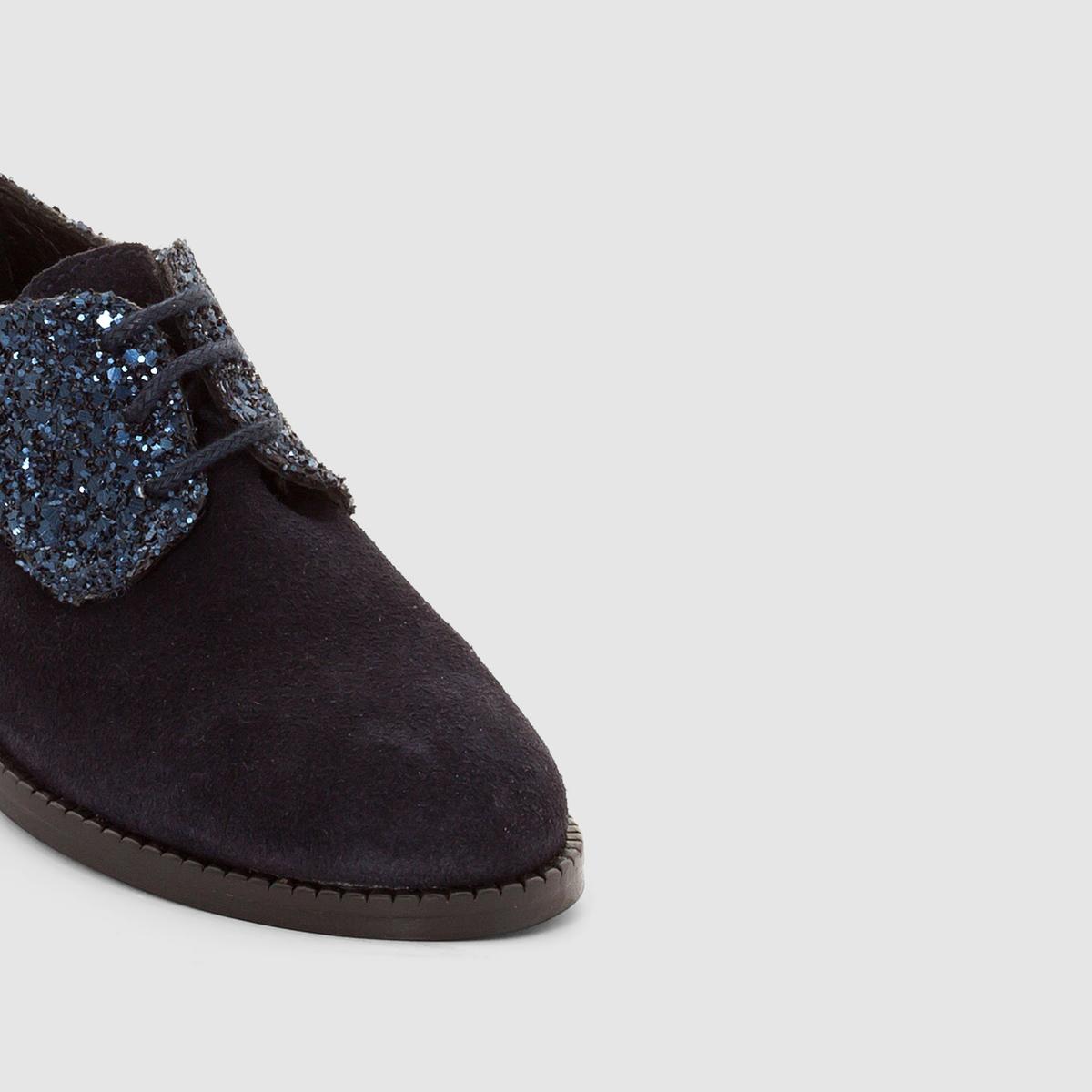 Ботинки дерби из комбинированного материала GEORGINEВерх/Голенище : кожа               Подкладка : кожа          Стелька  : кожа          Подошва : Каучук.     Форма каблука : плоский каблук         Мысок : закругленный          Застежка : Шнуровка         Преимущества : Марка детской обуви от фирмы JONAK<br><br>Цвет: синий<br>Размер: 31