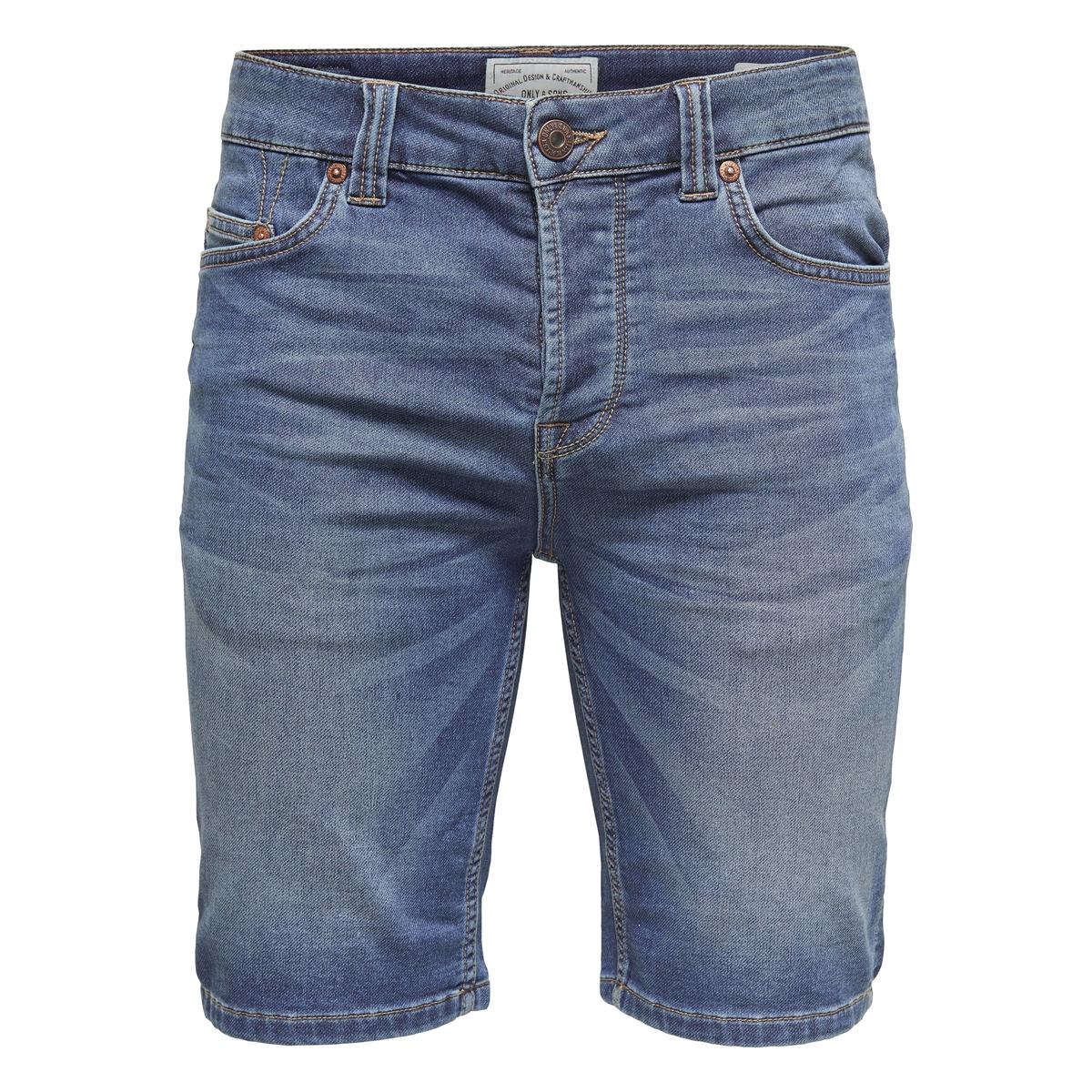 Бермуды джинсовые OnsbullОписание:Детали •  Пояс : стандартнаяСостав и уход •  75% хлопка, 24% полиэстера, 1% эластана   •  Следуйте советам по уходу, указанным на этикетке<br><br>Цвет: синий деним