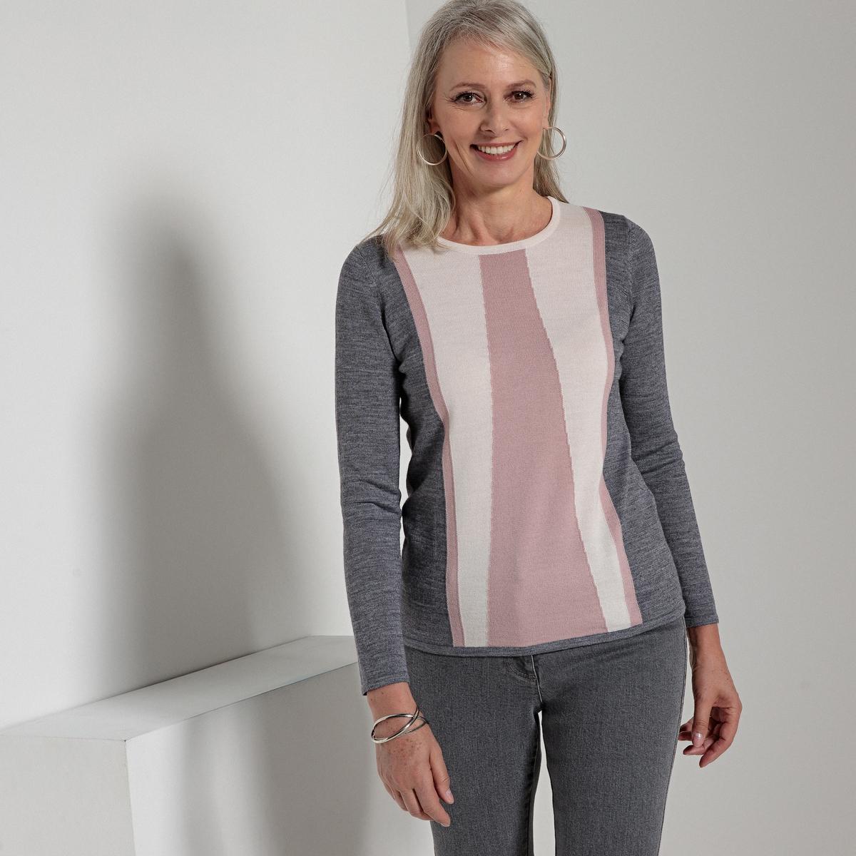 Пуловер в технике интарсия с круглым вырезом, 50% шерсти мериноса