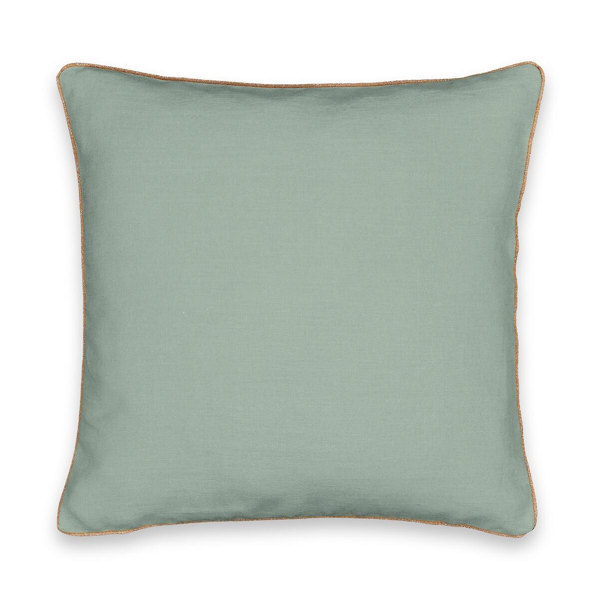 Чехол LaRedoute Для подушки из стираного льна Onega 45 x 45 см зеленый чехол laredoute для изголовья кровати высотой 135 см из стираного льна sandor 160 см серый