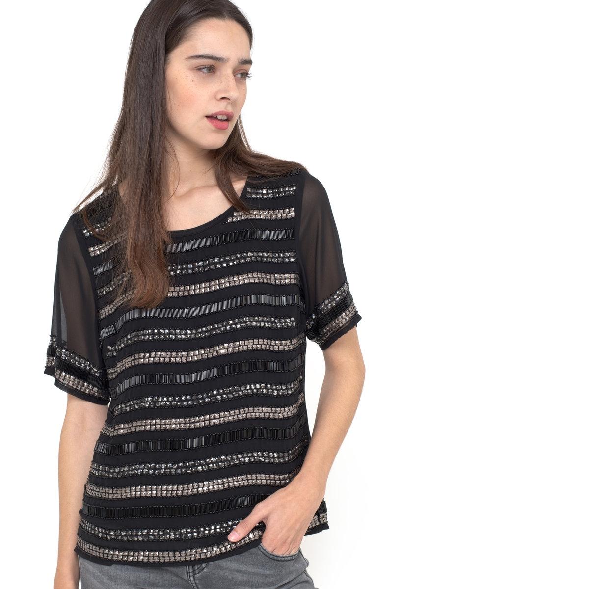 Блузка с короткими рукавамиБлузка с короткими рукавами - VILA. Блузка прямого покроя, оригинальные узоры бисером и стразами спереди и на рукавах. Подкладка из вуали. Круглый вырез. 100% полиэстера.<br><br>Цвет: черный<br>Размер: XS