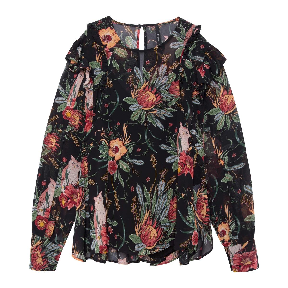 Блузка La Redoute С цветочным принтом и воланами на плечах XS черный