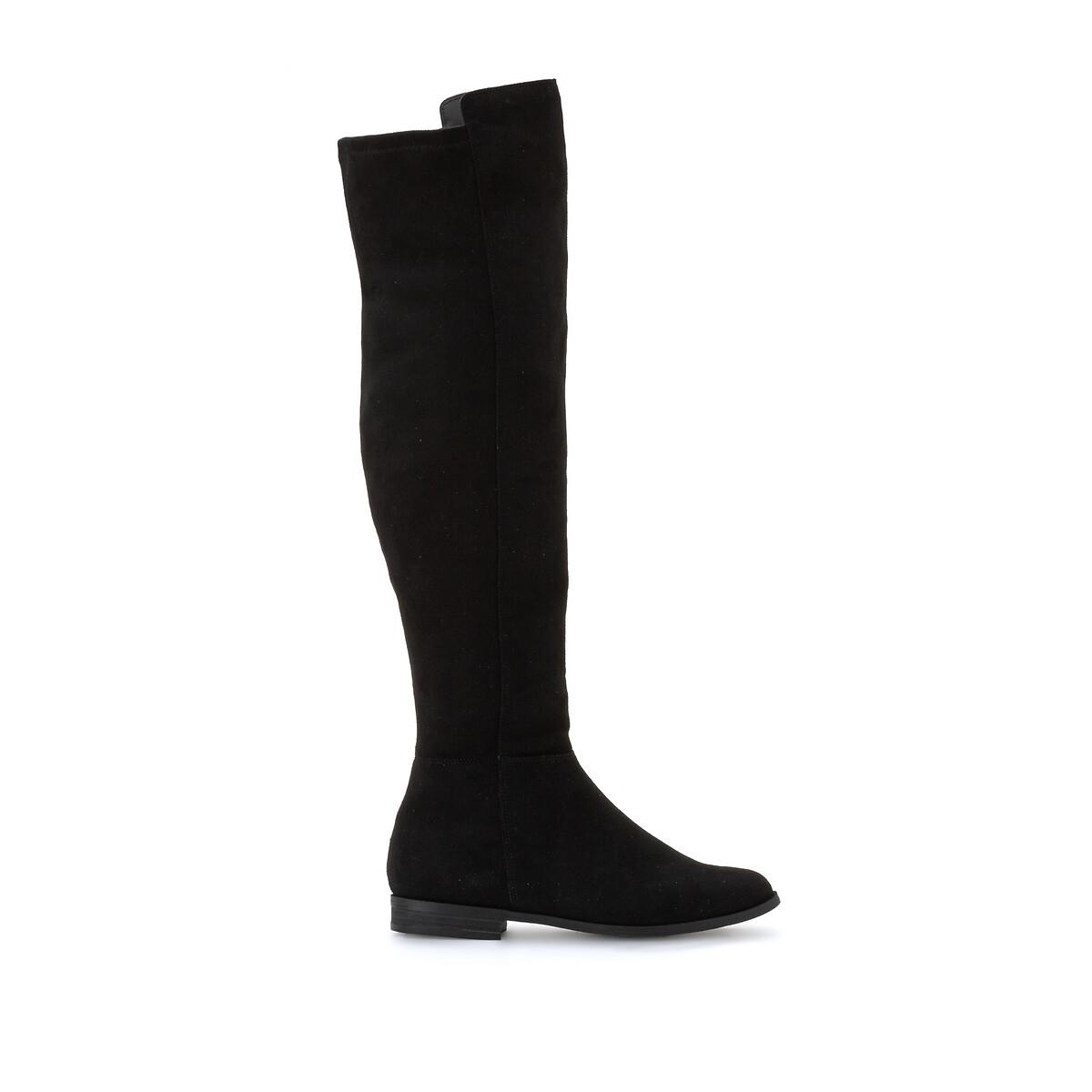 Сапоги-ботфорты La Redoute На плоском каблуке 39 черный цена 2017