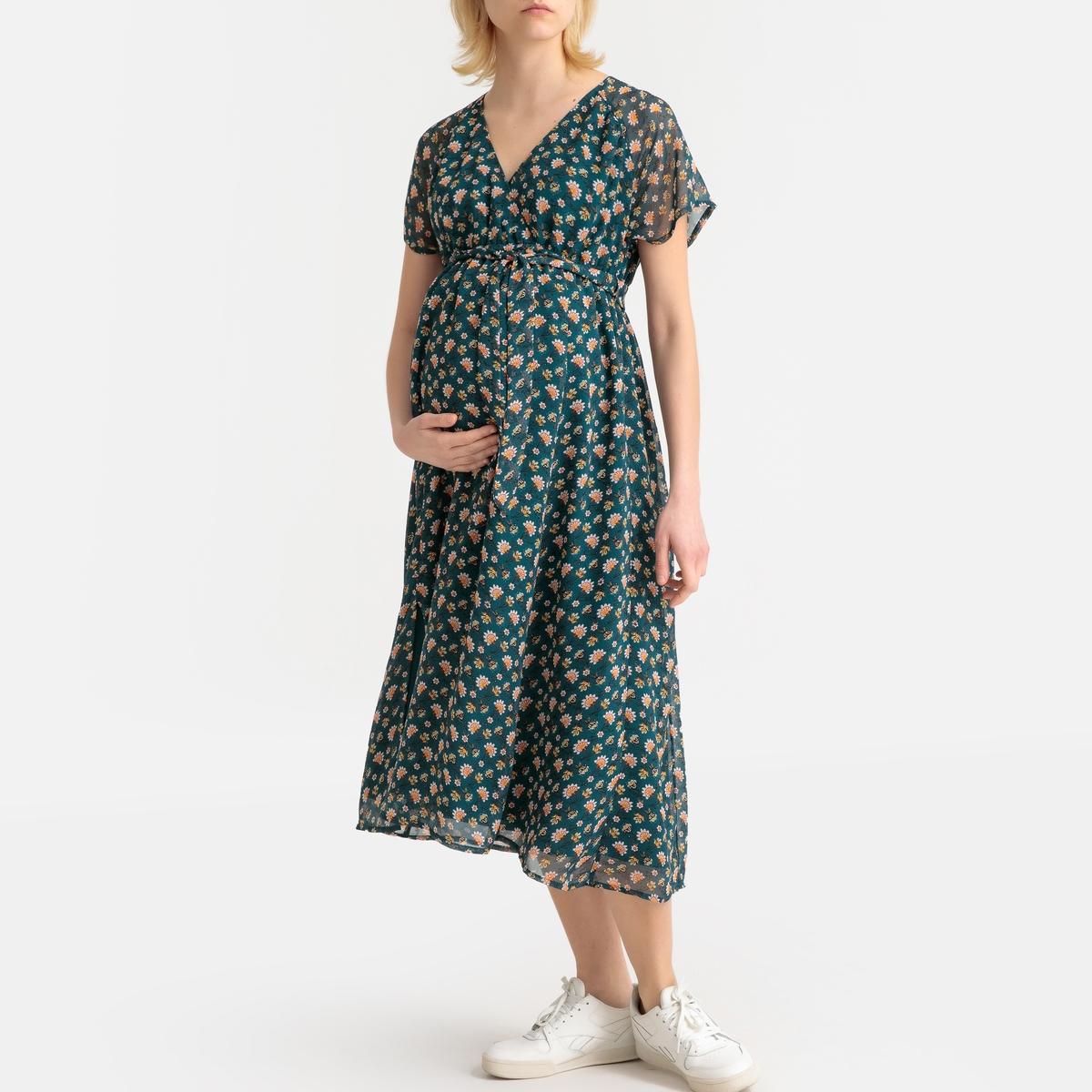Vestido com estampado floral, mangas curtas, para grávida