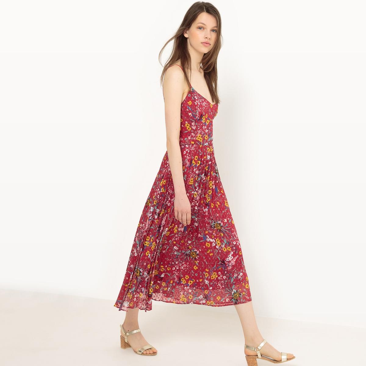 Платье плиссированное с тонкими бретелями и рисунком платье плиссированное с рисунком