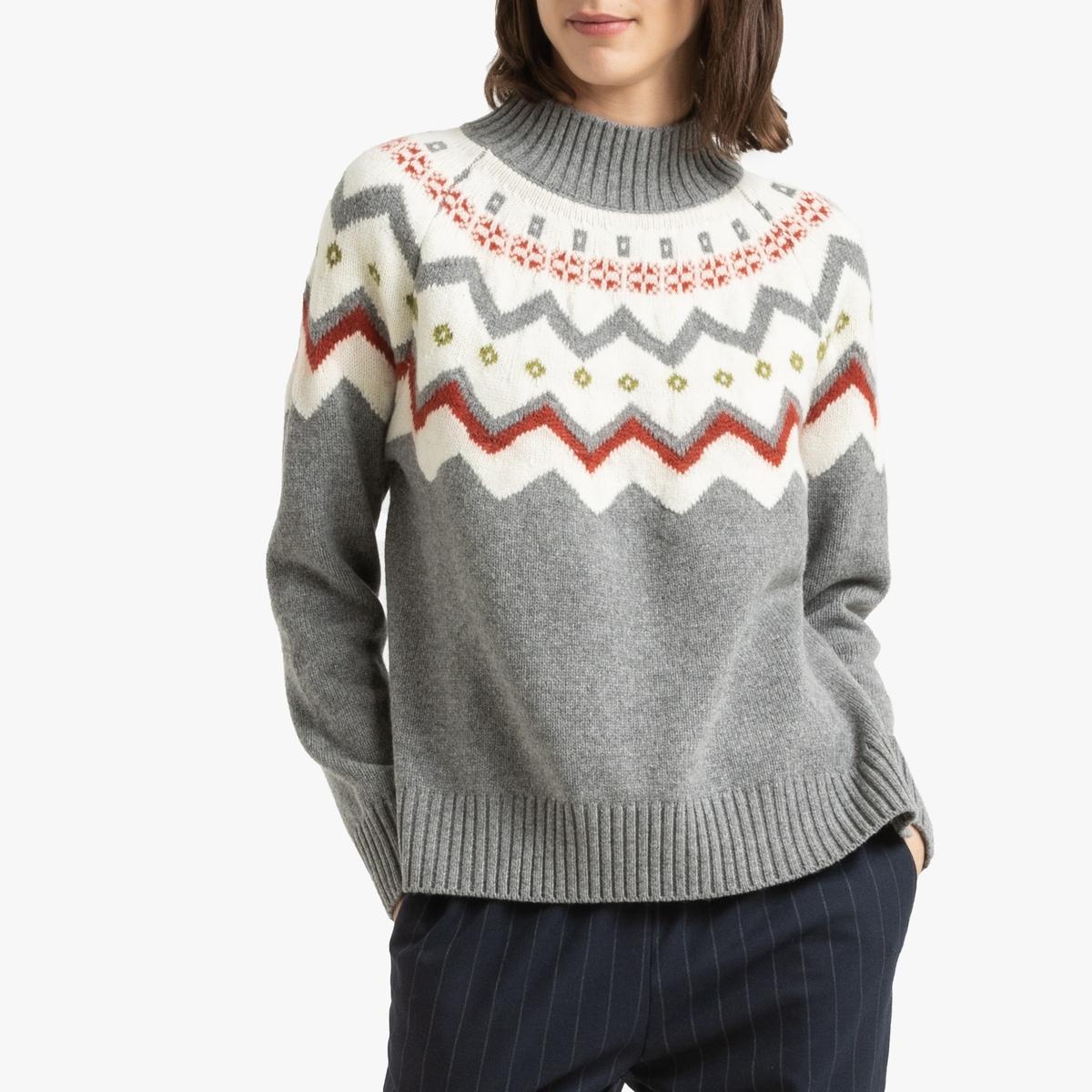 цена Пуловер La Redoute С воротником-стойкой из трикотажа STEFIE 3(L) серый онлайн в 2017 году