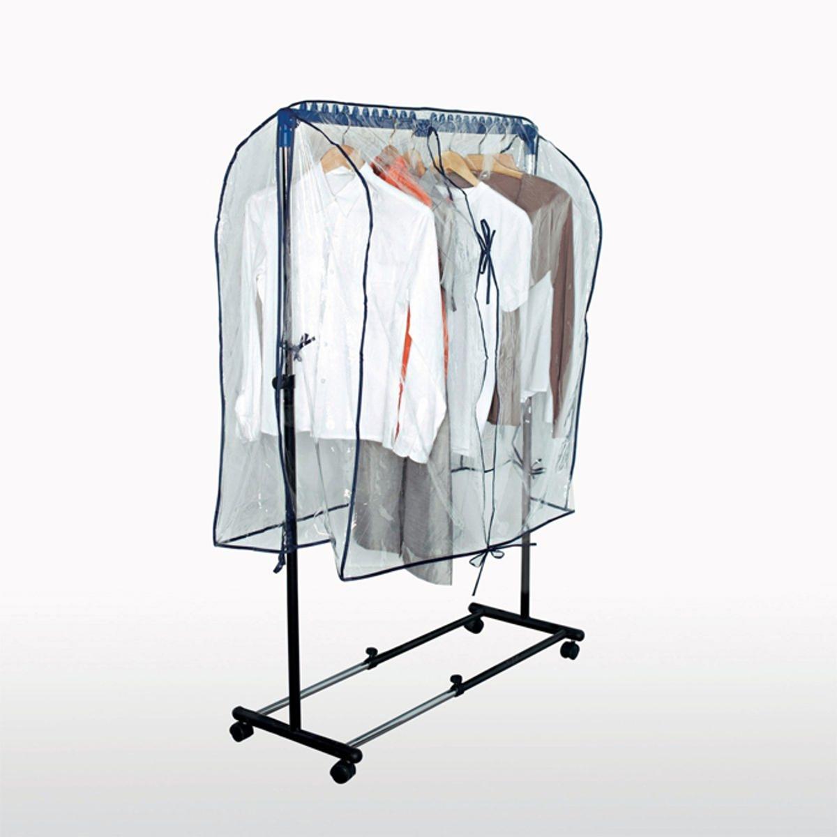 Чехол для вешалкиЧехол для вешалки защищает Вашу одежду от пыли.Описание чехла :- Из прозрачного полиэтилена.- Отделка синей каймой.ОПИСАНИЕ ЧЕХЛА :- Завязки по бокам.Размеры :- Ш100 x В55 x Г91 см.Чехол адаптируется по размеру к раздвижной вешалке на колесиках и вешалке с регулировкой по высоте, которые можно приобрести на нашем сайте.<br><br>Цвет: прозрачный