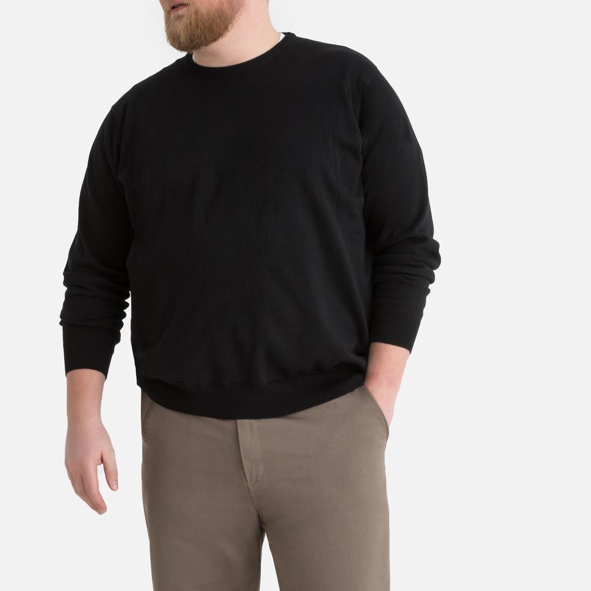 Camisola de gola redonda, tamanho grande, em algodão
