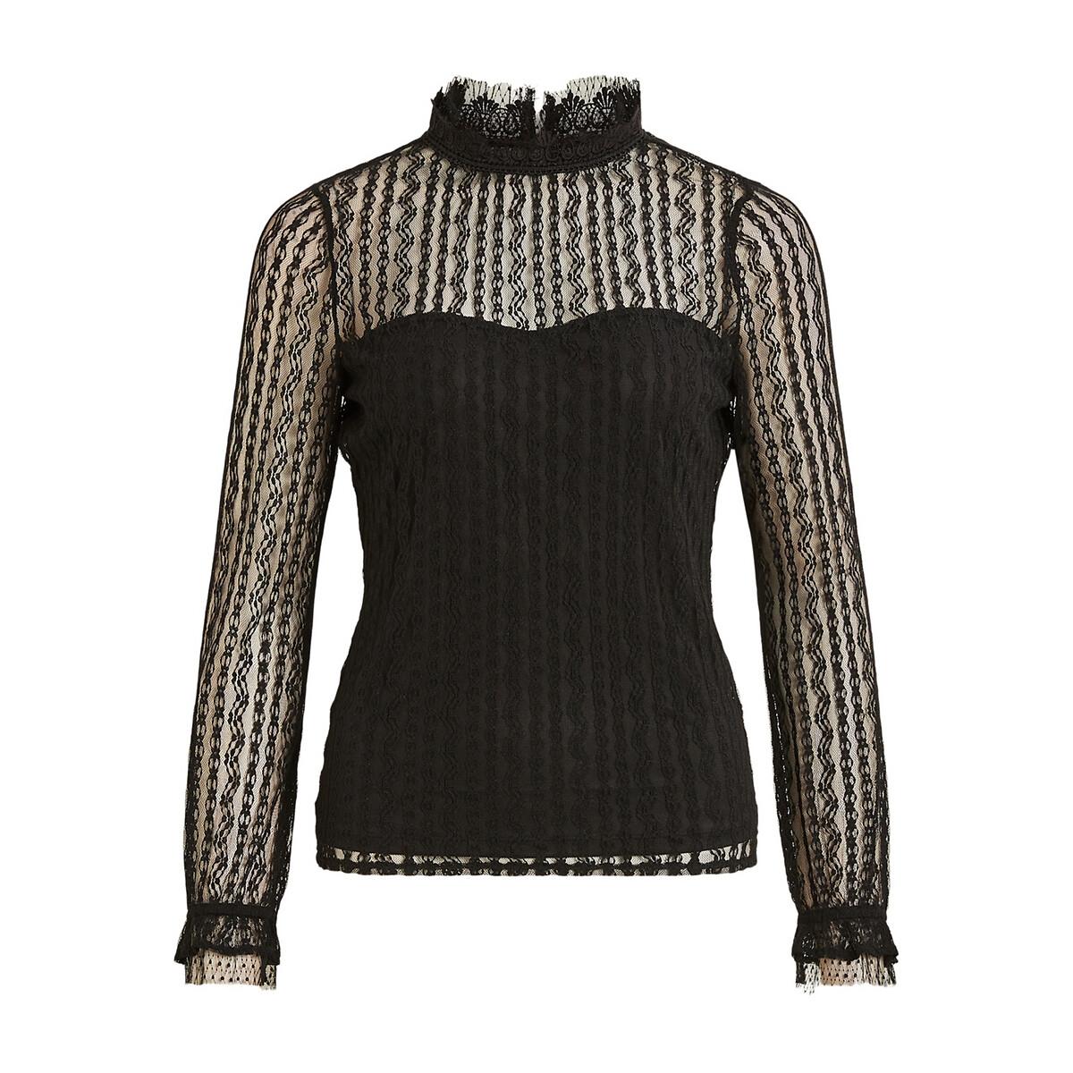 Блуза LaRedoute — Из кружева воротник-стойка эффект бюстье M черный
