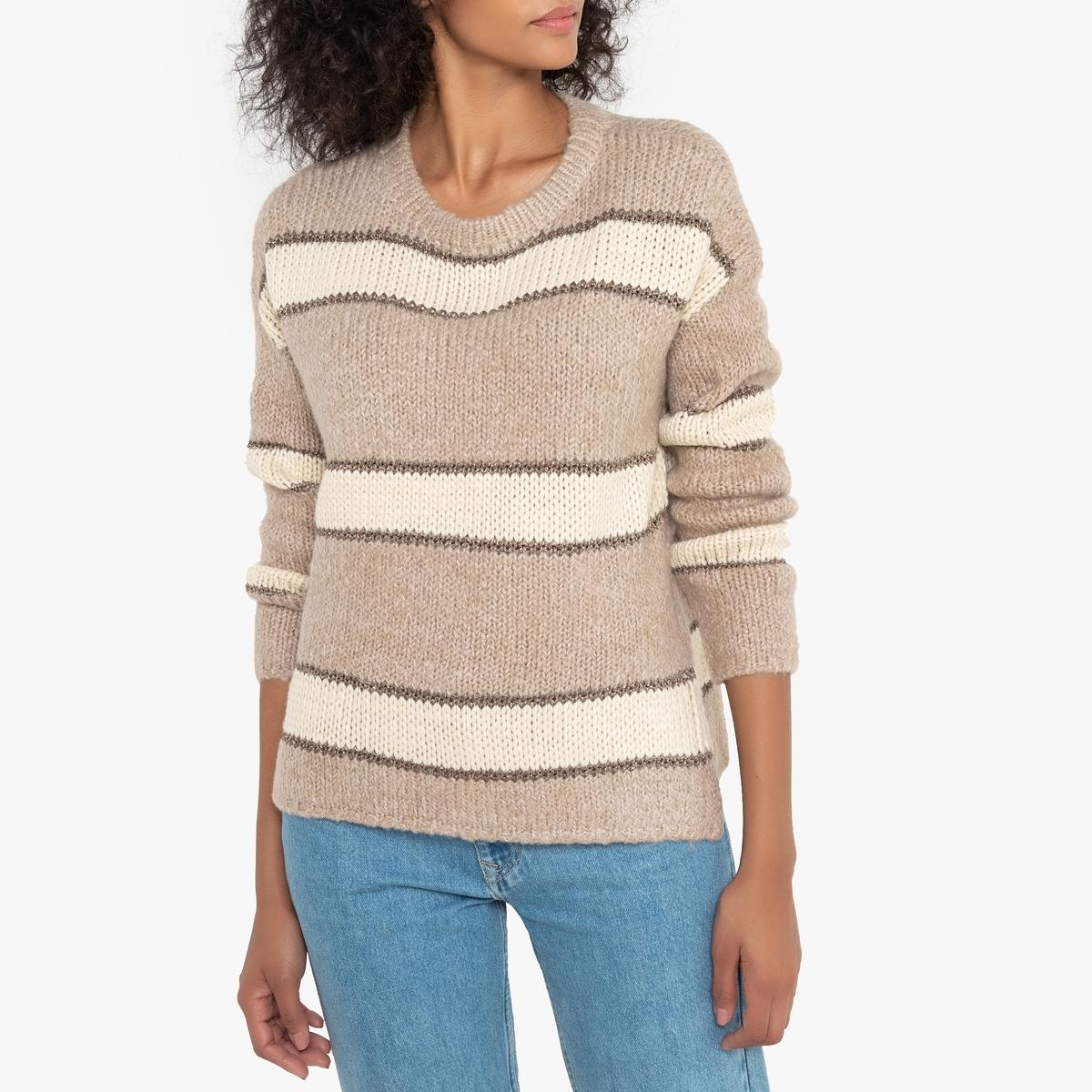 Пуловер La Redoute Из плотного трикотажа с круглым вырезом с полосками M бежевый пуловер la redoute с круглым вырезом из плотного трикотажа 3xl бежевый