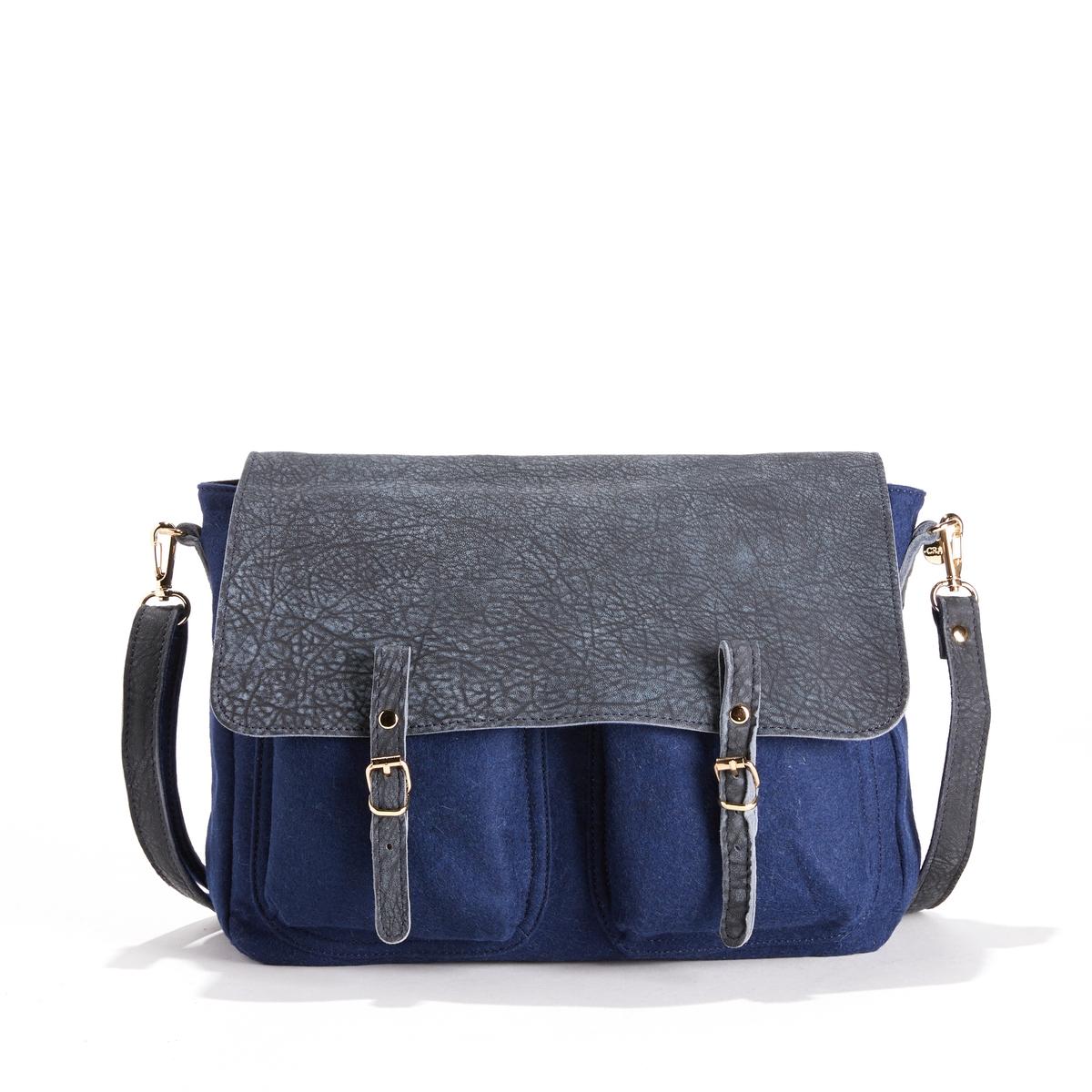 Сумка из кожи и ткани MAXI MATHSОписание:Двусторонняя сумка CRAIE  - модель MAXI MATHS CUIR FEUTRE с модулируемыми деталями из кожи и фетра.Детали    •  Двусторонняя и модулируемая при помощи кнопок сумка-портфель •  Можно носить в руке, на плече или как рюкзак благодаря съемной ручке, плечевому ремню и кольцу •  Застежка на 2 кнопки со взаимозаменяемыми пряжками •  Карманы с клапанами  •  2 небольших кармана с изнаночной стороны •  Размеры 35 x 27 x 10 см: большая модельСостав и уход    •  Кожа ягненка и хлопковый фетр •  Подкладка из хлопковой ткани  •  Следуйте советам по уходу, указанным на этикетке<br><br>Цвет: темно-синий<br>Размер: единый размер