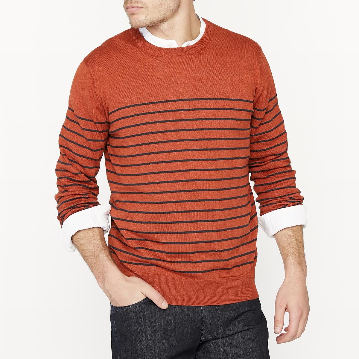Пуловер в полоску с круглым вырезом из смесовой ткани из льна