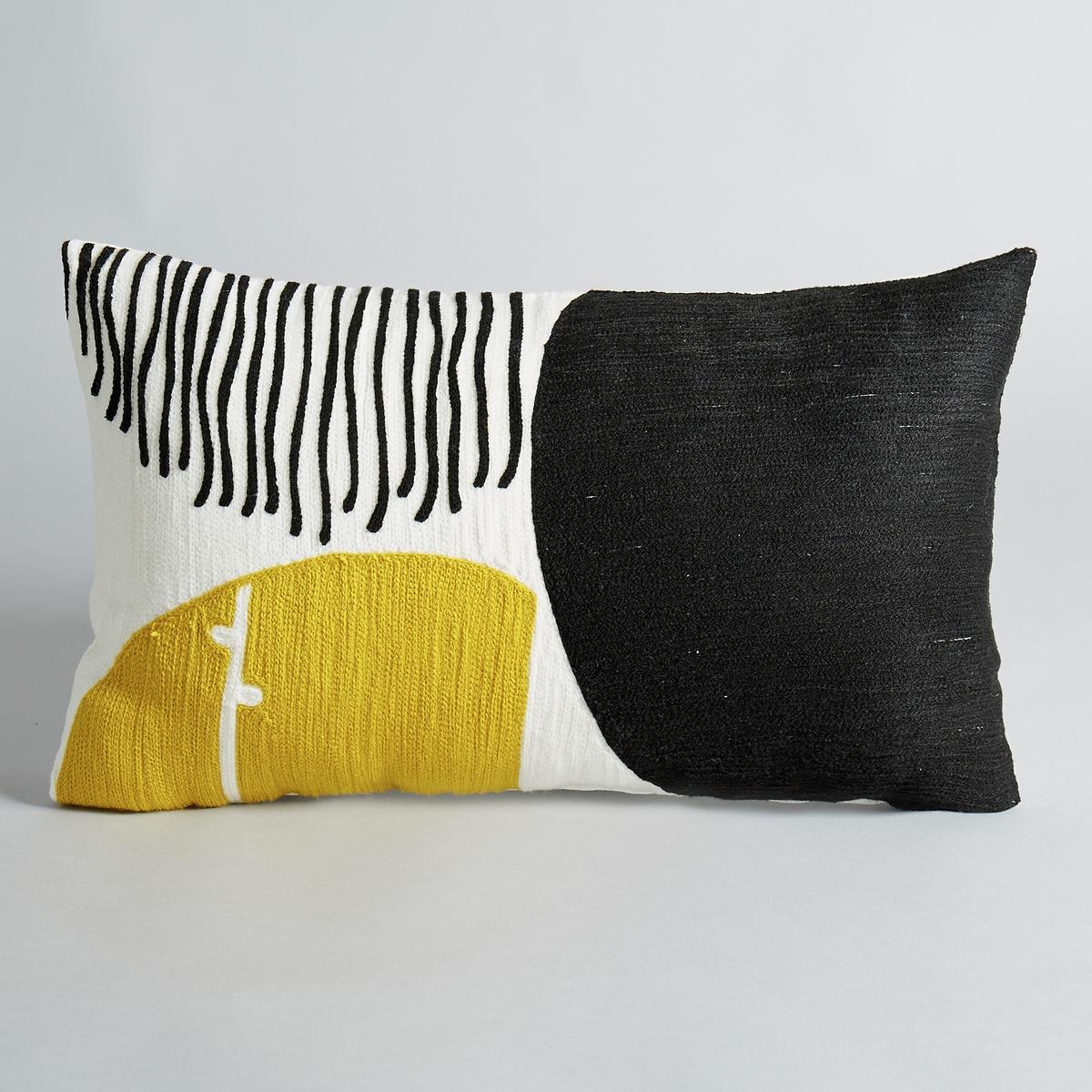 Чехол на подушку с вышивкой  Mihn?aРисунок в горох. С вышивкой по всей поверхности. 100 % хлопка.Рисунок в чёрно-жёлтый горох.Размеры:. 50 x 30 см.<br><br>Цвет: желтый/черный<br>Размер: 50 x 30 см