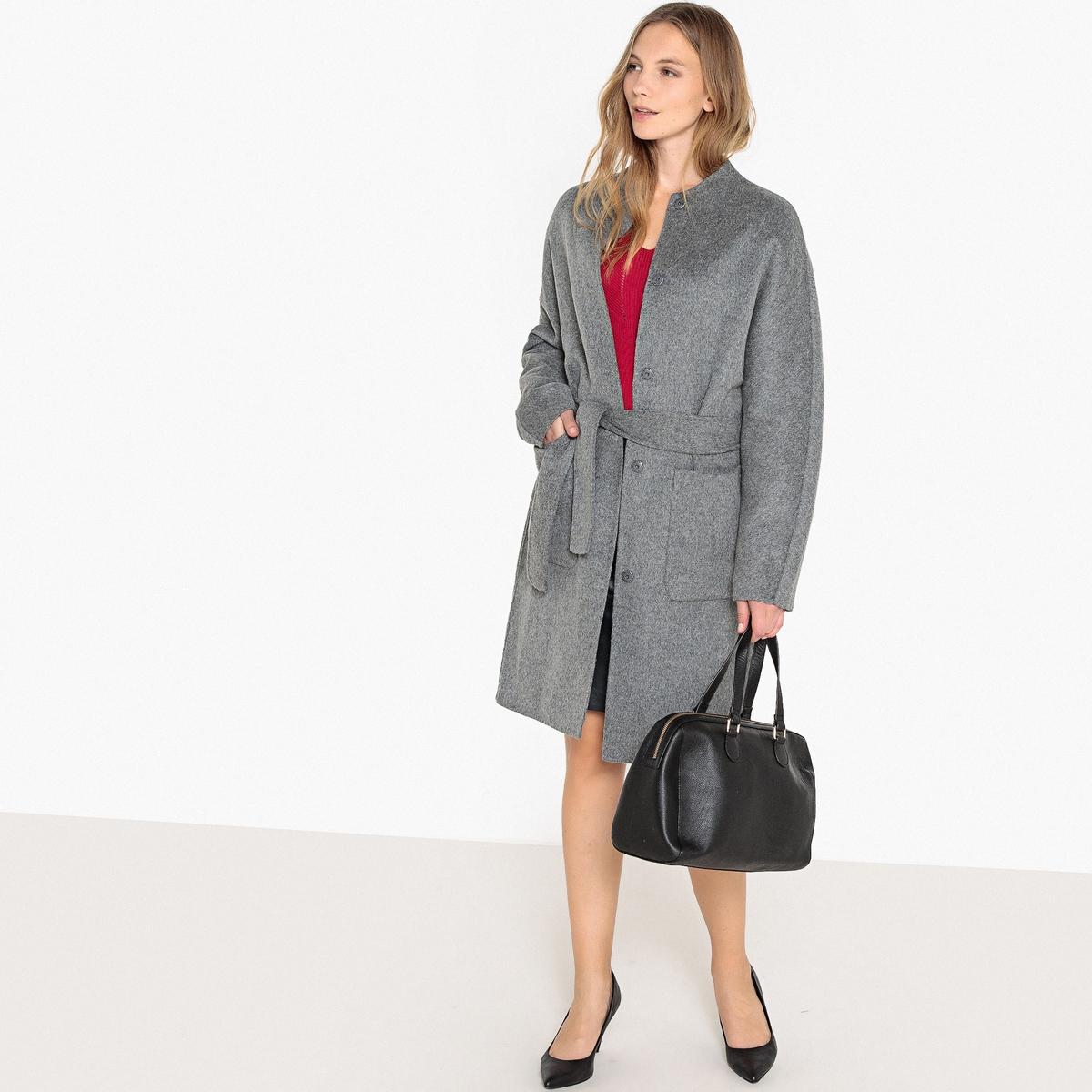Abrigo 3/4 sin cuello de mezcla de lana