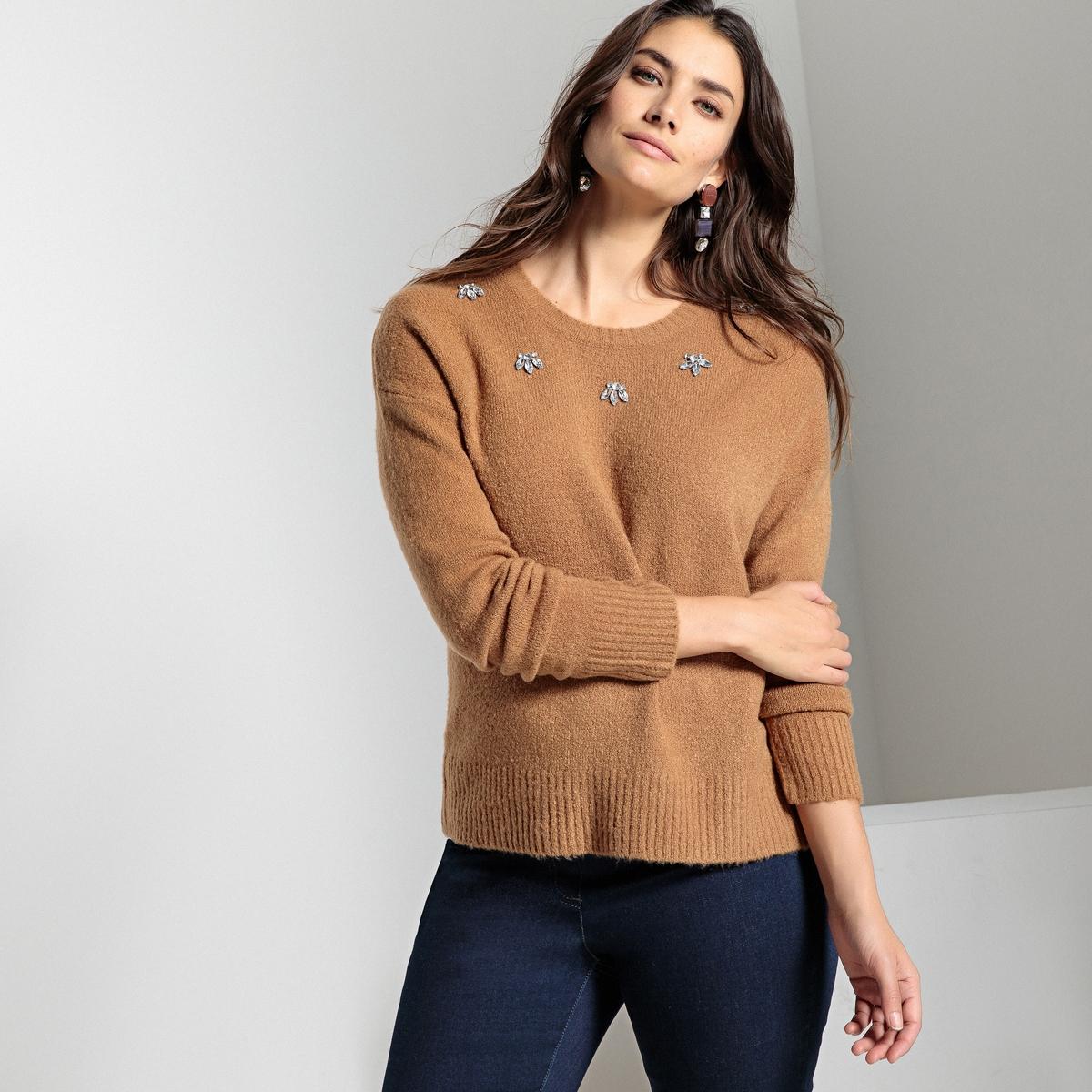 Пуловер с украшением из плотного трикотажа пуловер из плотного трикотажа с v образным вырезом
