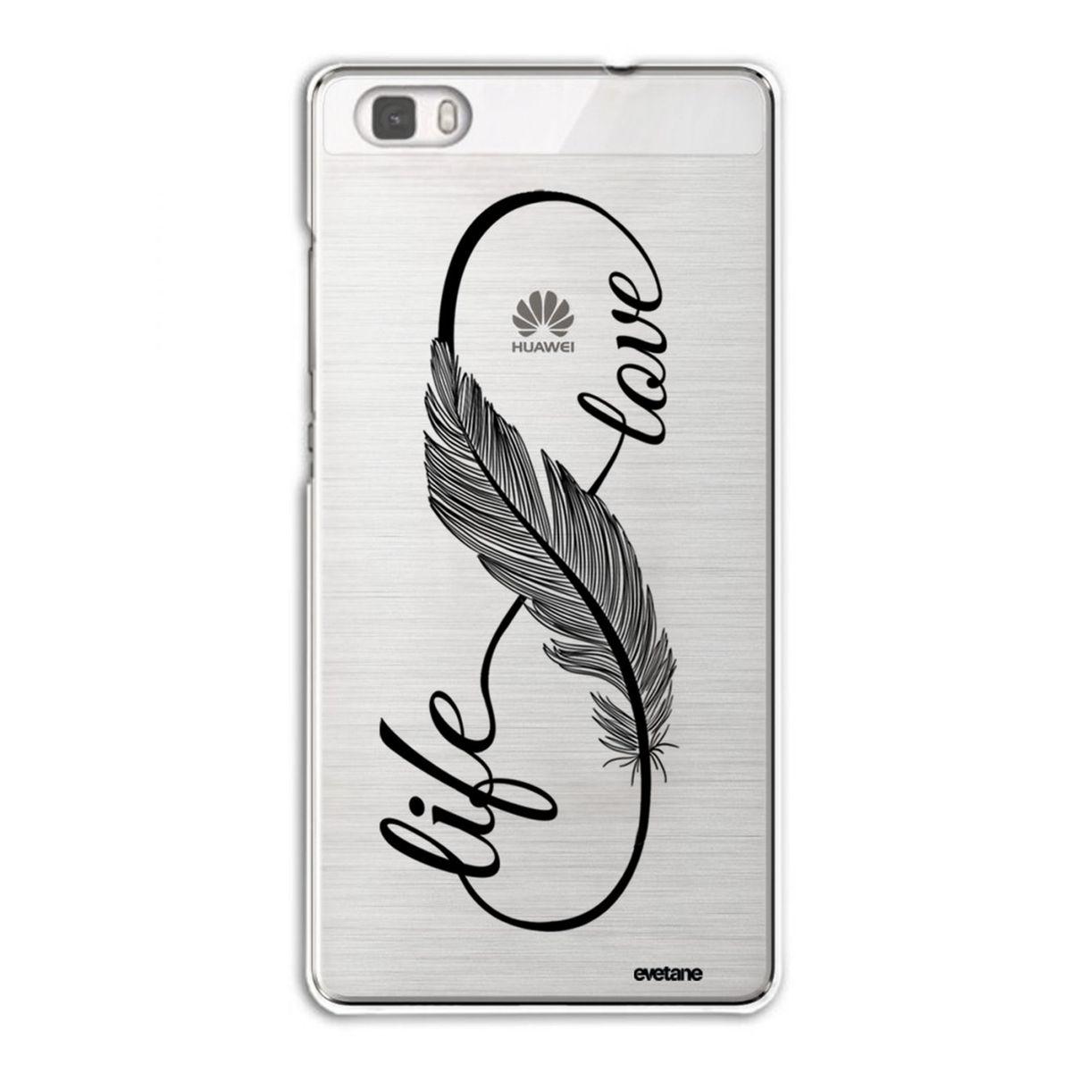 Coque Huawei P8 Lite rigide transparente, Love Life, Evetane®