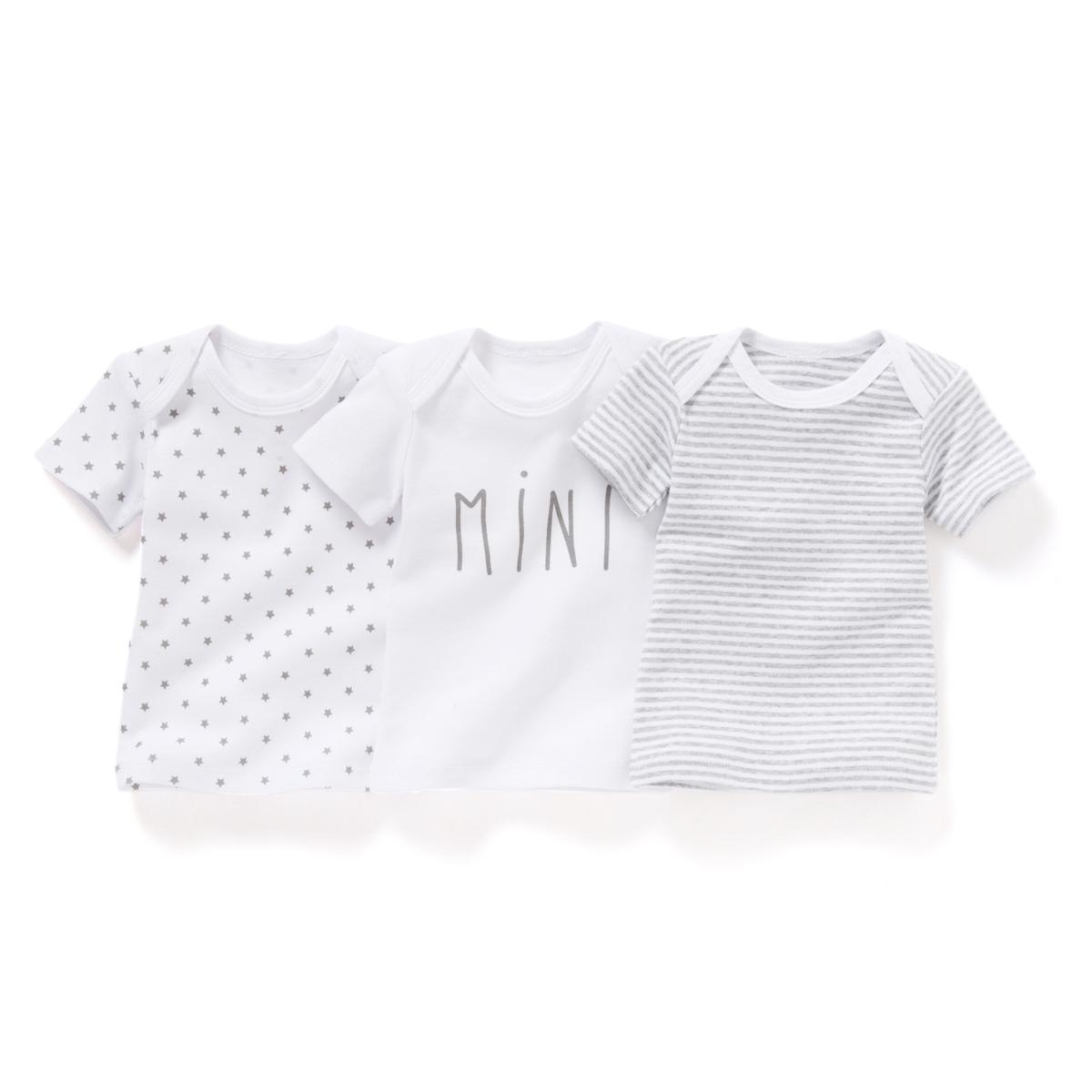3 футболки хлопковых с рисунком, 0 мес. - 3 лет Oeko Tex от La Redoute