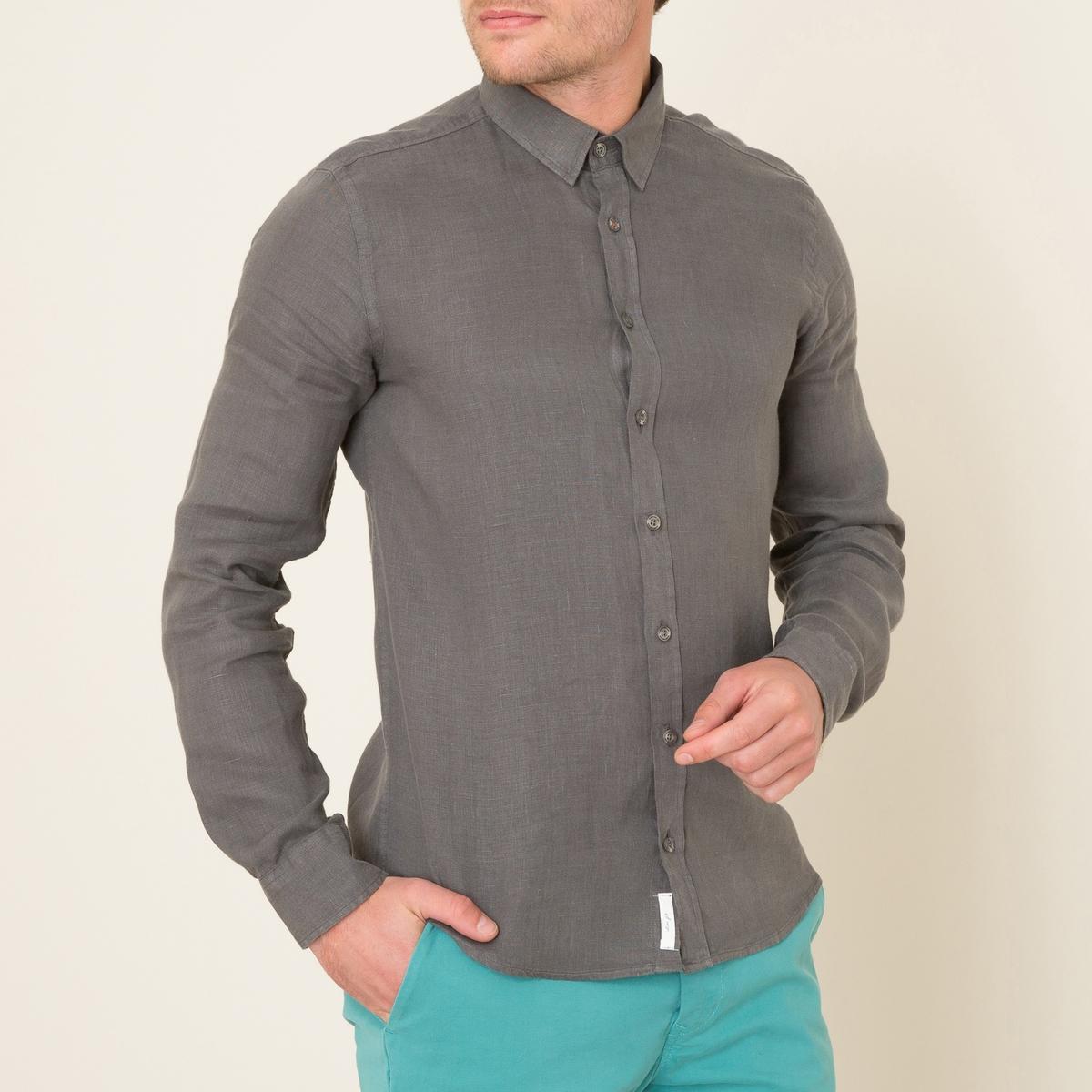 Рубашка льняная FORBANСостав и описание Материал : 100% ленМарка : HARRIS WILSON<br><br>Цвет: хаки<br>Размер: M